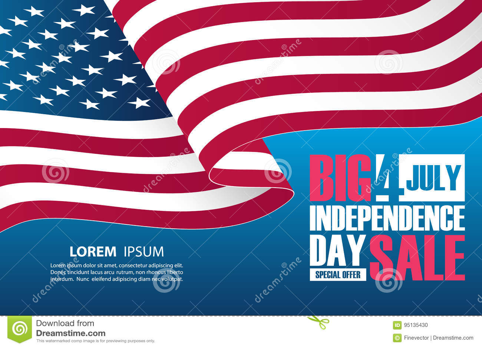 4ème de la bannière de vente de Jour de la Déclaration d Indépendance de juillet avec onduler le drapeau national américain