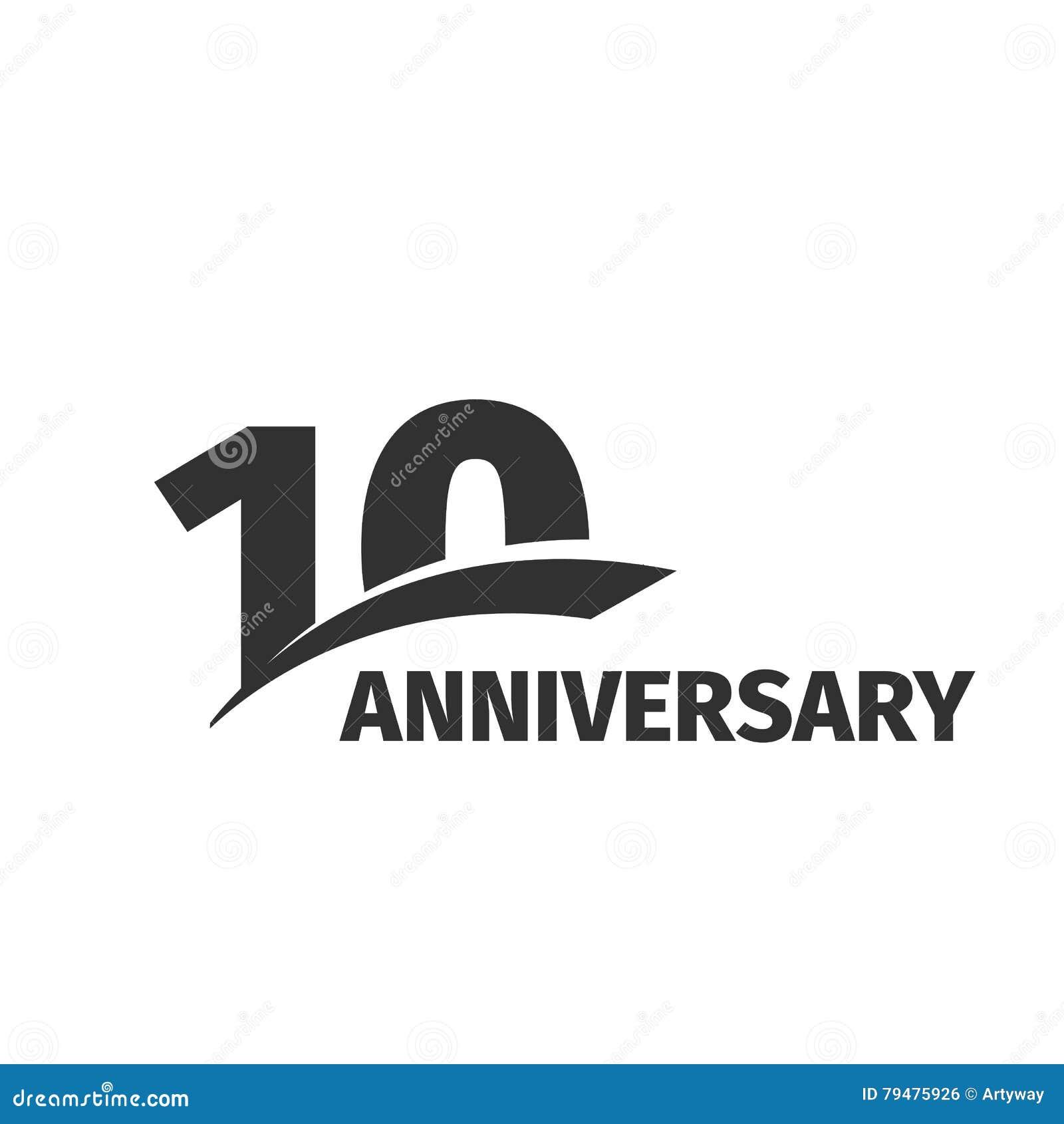10ème logo d isolement d anniversaire de noir abstrait sur le fond blanc logotype de 10 nombres Dix ans de célébration de jubilé