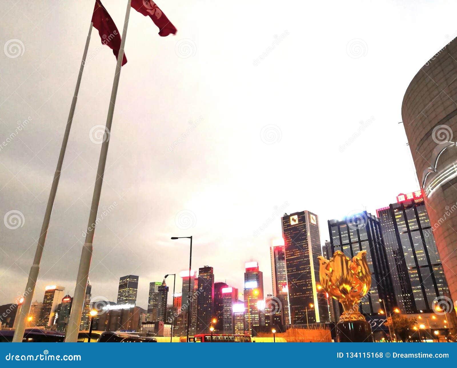 """香港 é ‡ 'ç"""" """"è  † å ¹ ¿ 场 goldenes Bauhinia-Quadrat, Hong Kong"""