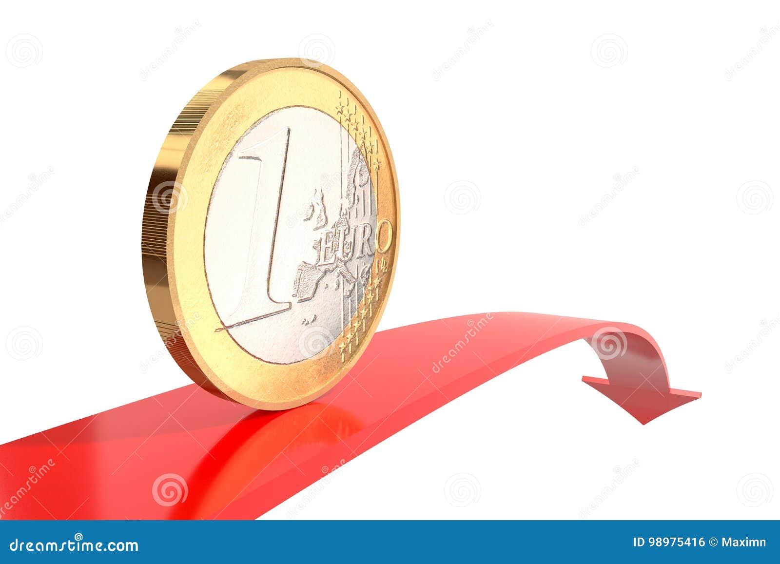 Citaten Geld Geldt : Één euro muntstuk op rode pijl naar beneden met het wijzen van op