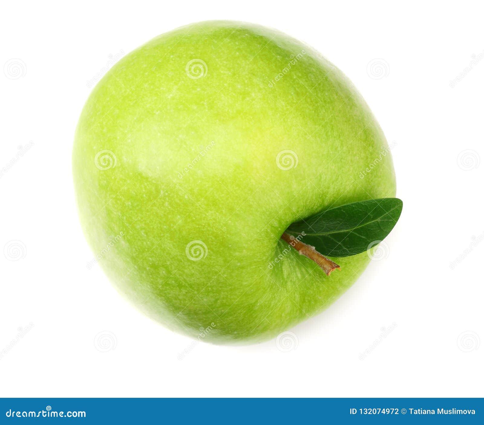 Één groene die appel op witte achtergrond wordt geïsoleerd Hoogste mening