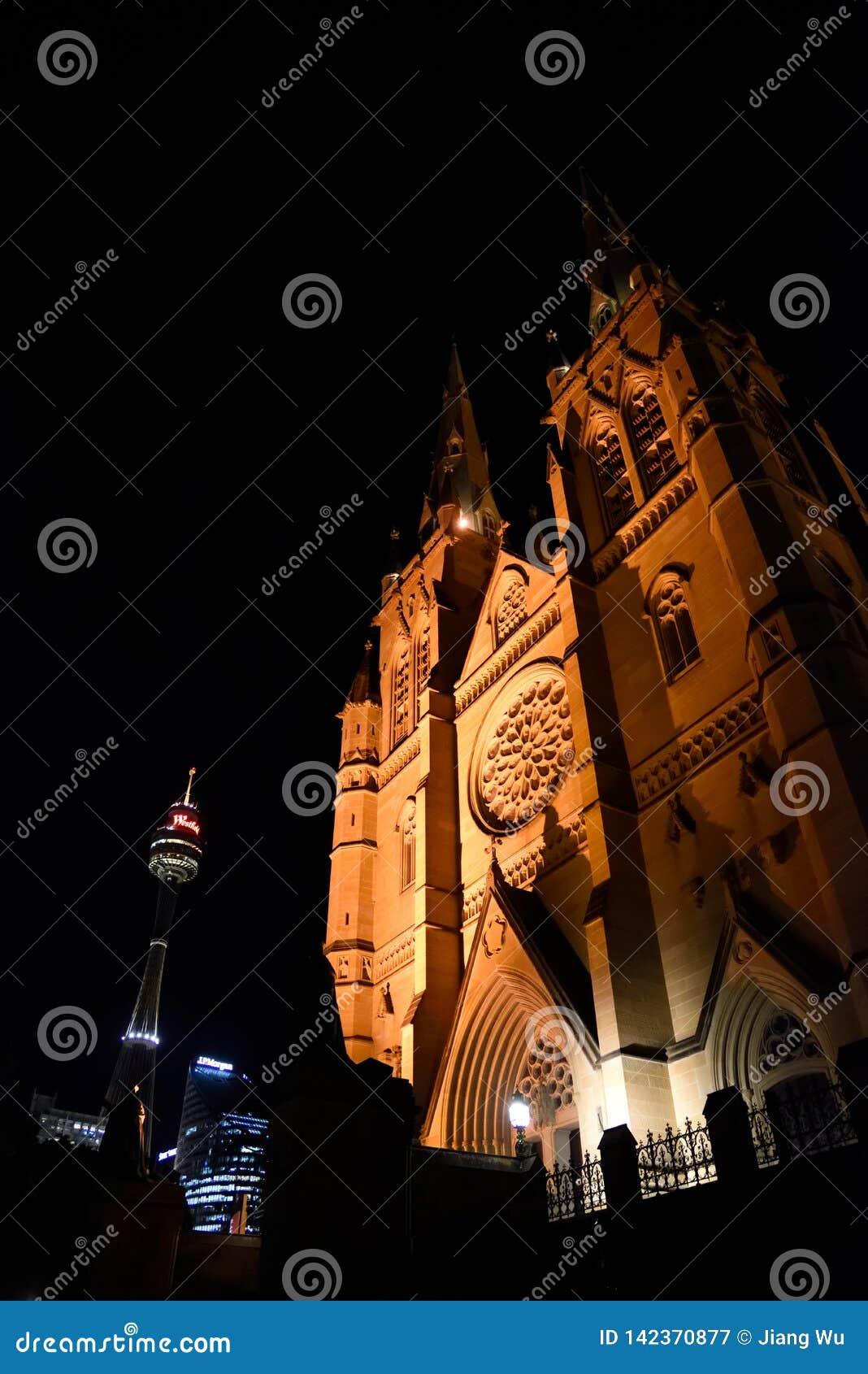 Één kant van St Mary Kathedraal bij nacht