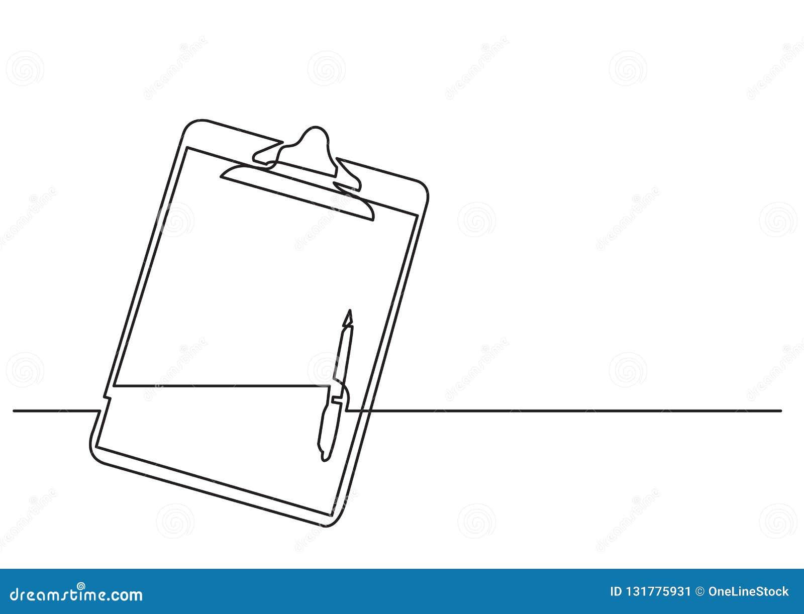 Één lijntekening van geïsoleerd vectorvoorwerp - klembord met pen