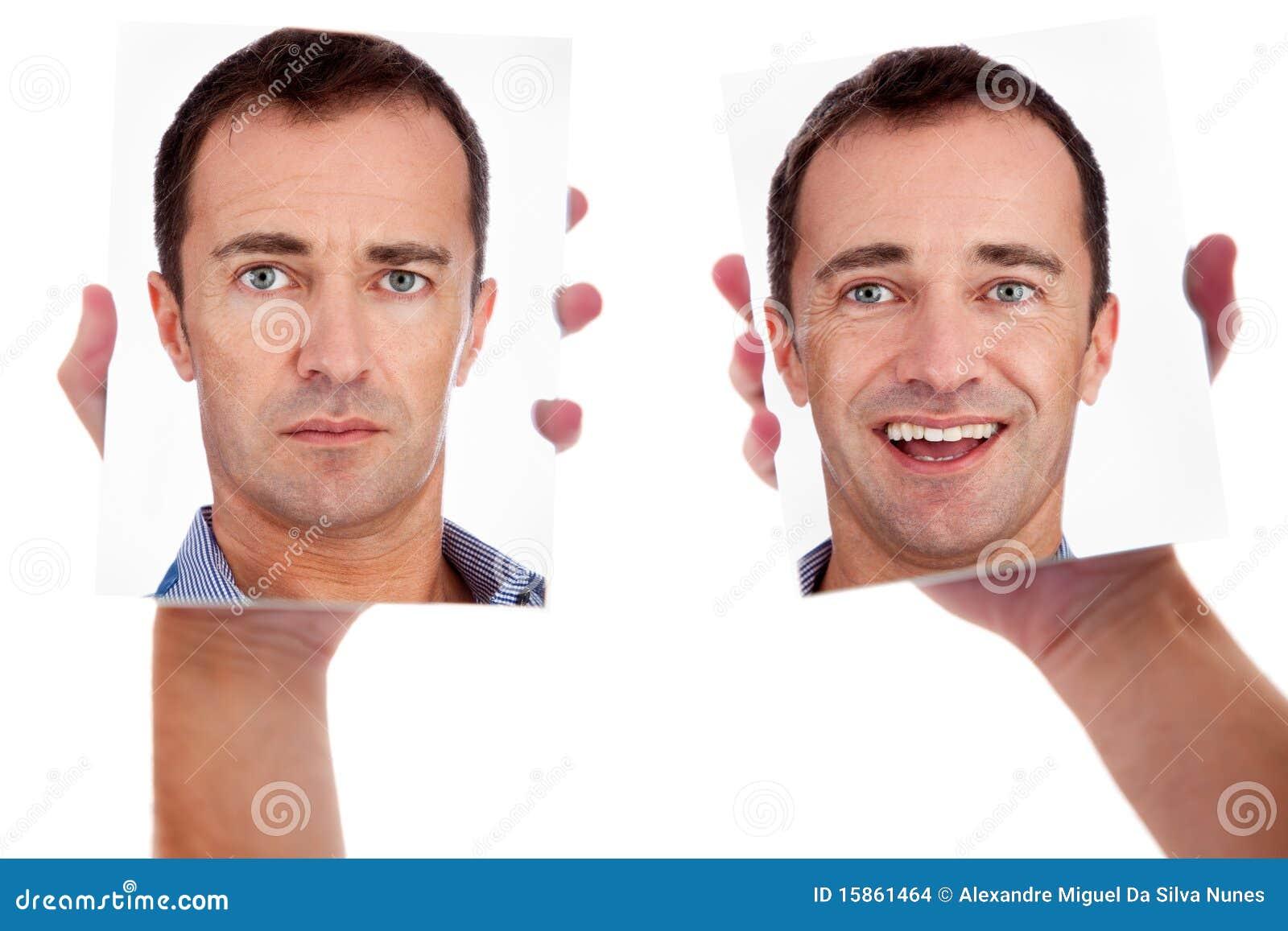 Één mens, met twee gezichten op de spiegel