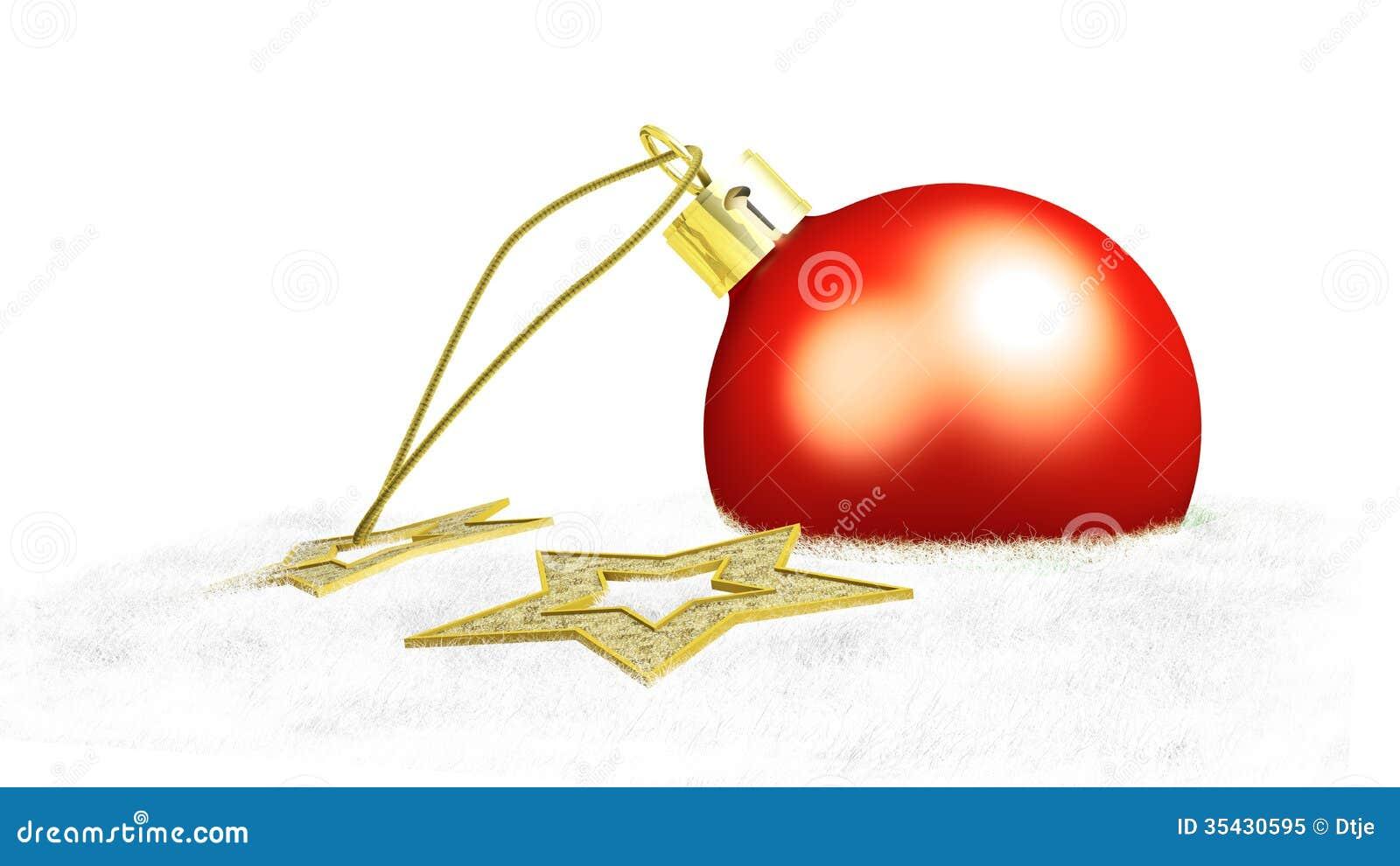 Één rode Kerstmisbal en twee gele sterren