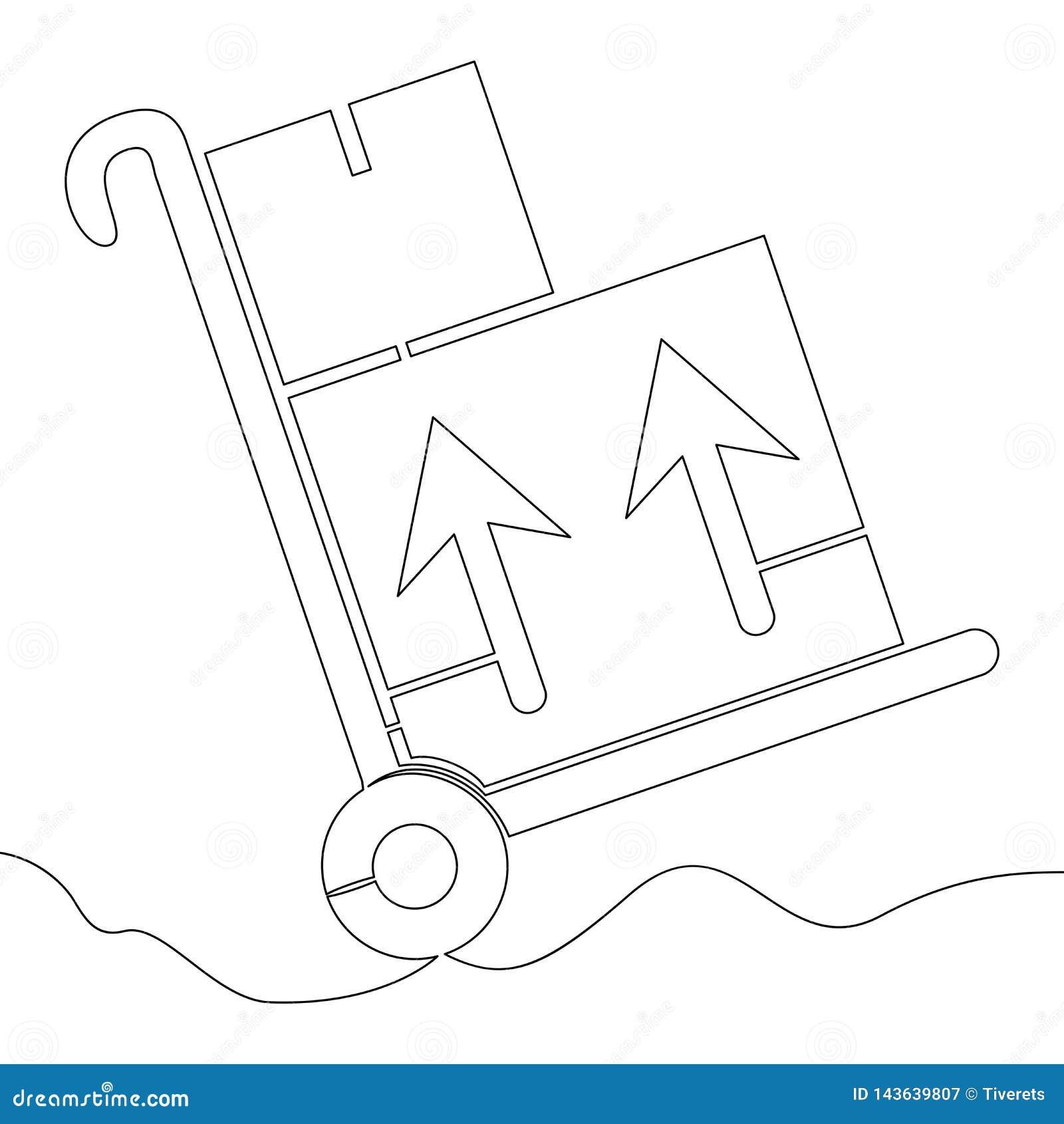 Één stootkar van de het karretjelevering van het lijnpakhuis