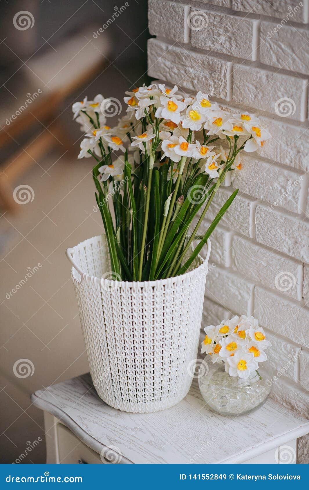 Één witte en oranje mooie bloem