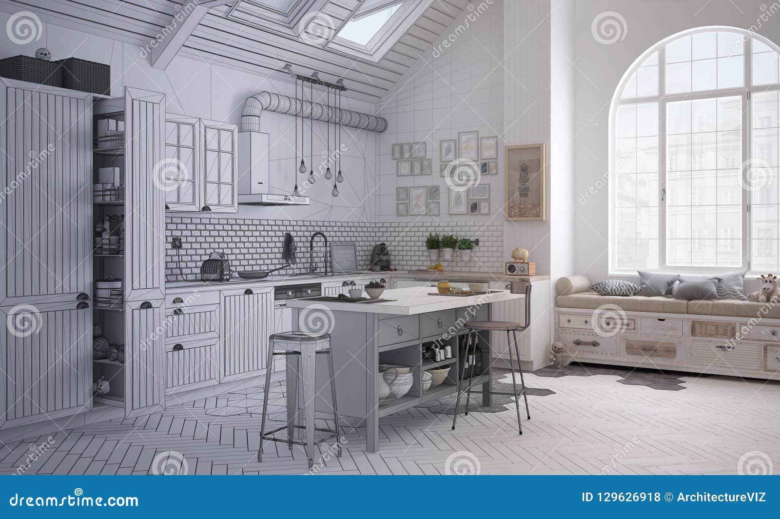 Ébauche Non Finie De Projet De Cuisine Scandinave Contemporaine, Conception  Intérieure Du0027architecture Minimalistic