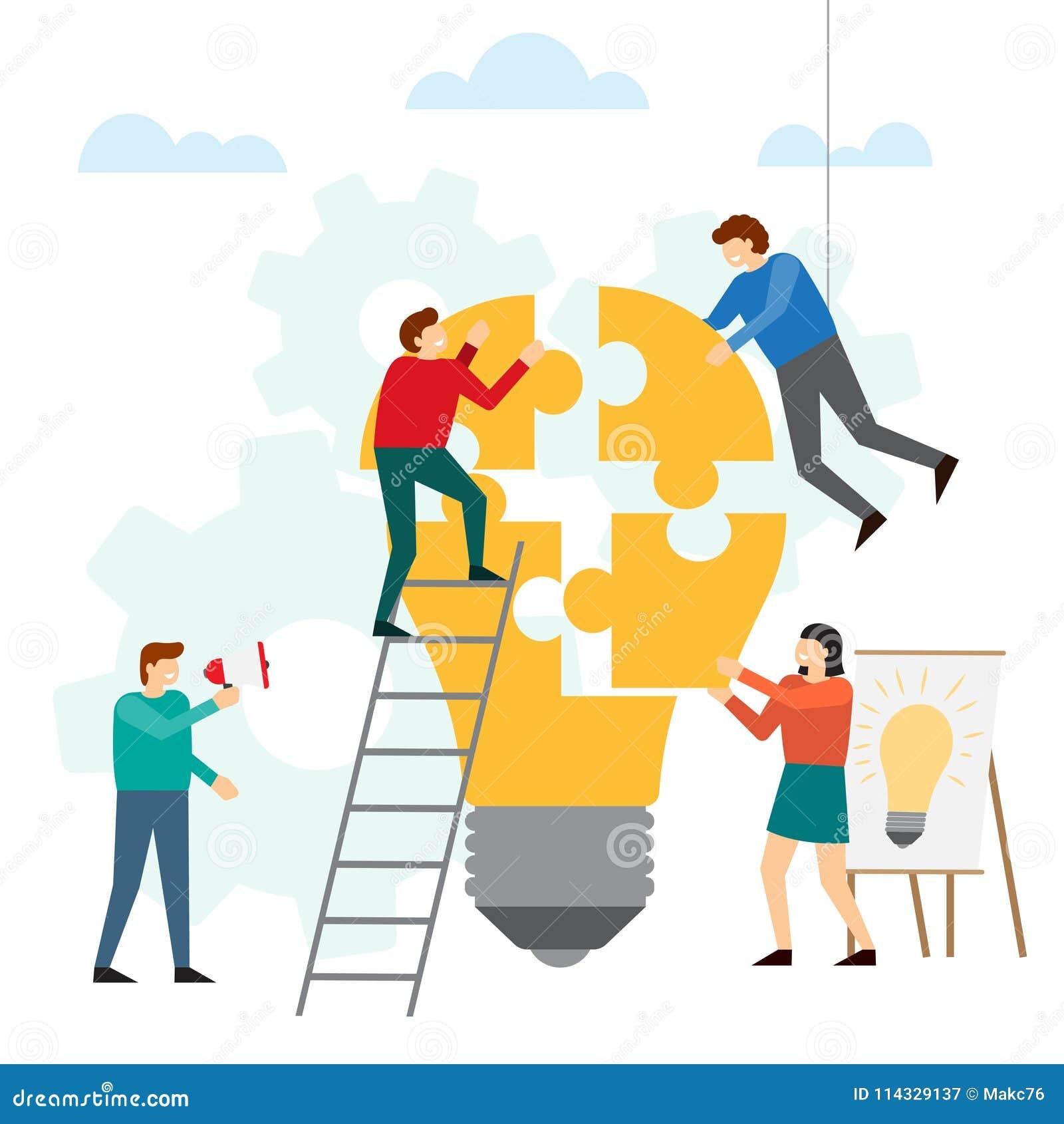 Idees And Solutions: Échange D'idées Et Concept Créatif D'idée Illustration De