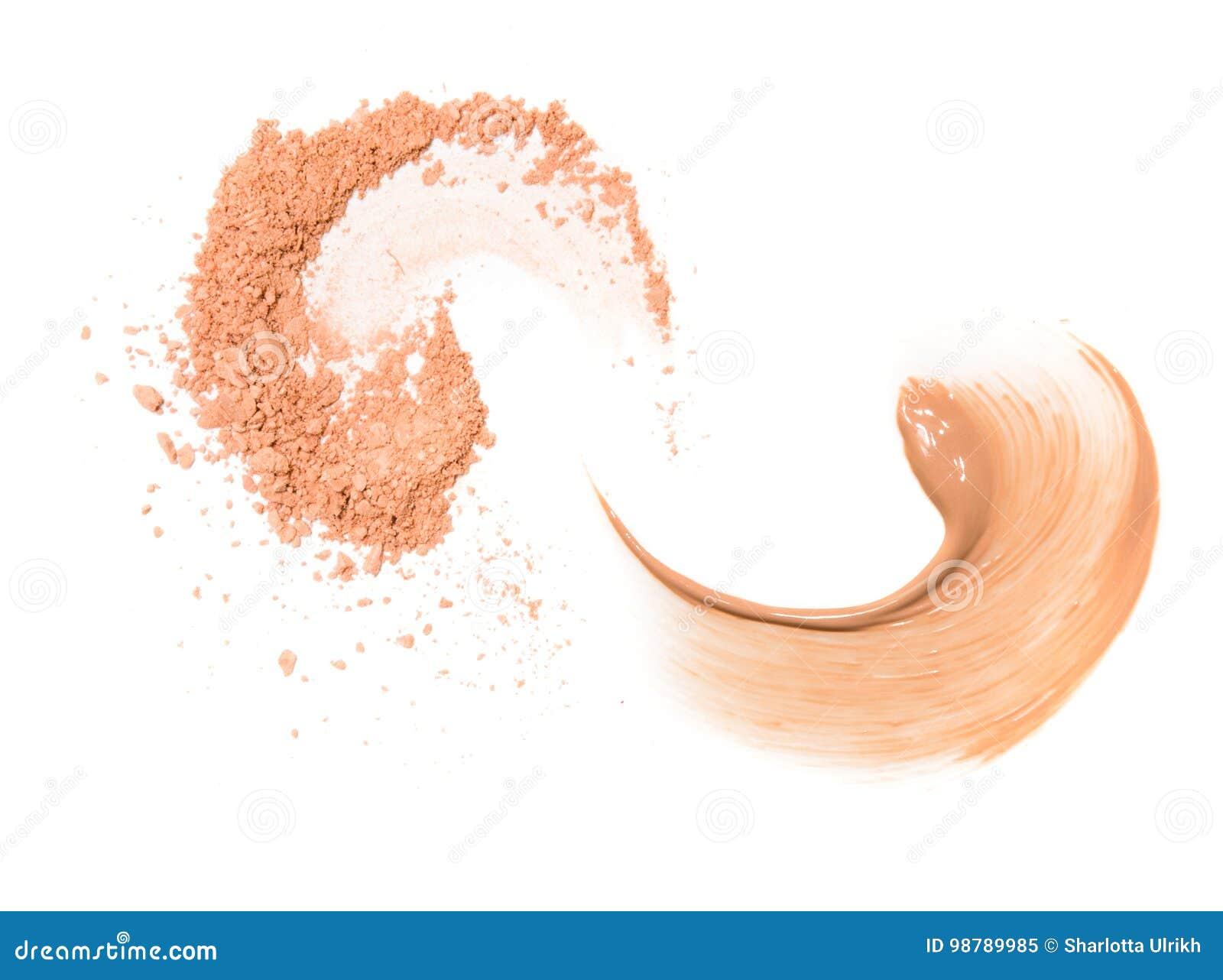 Échantillon deux beige en spirale de base et de poudre d isolement sur le fond blanc