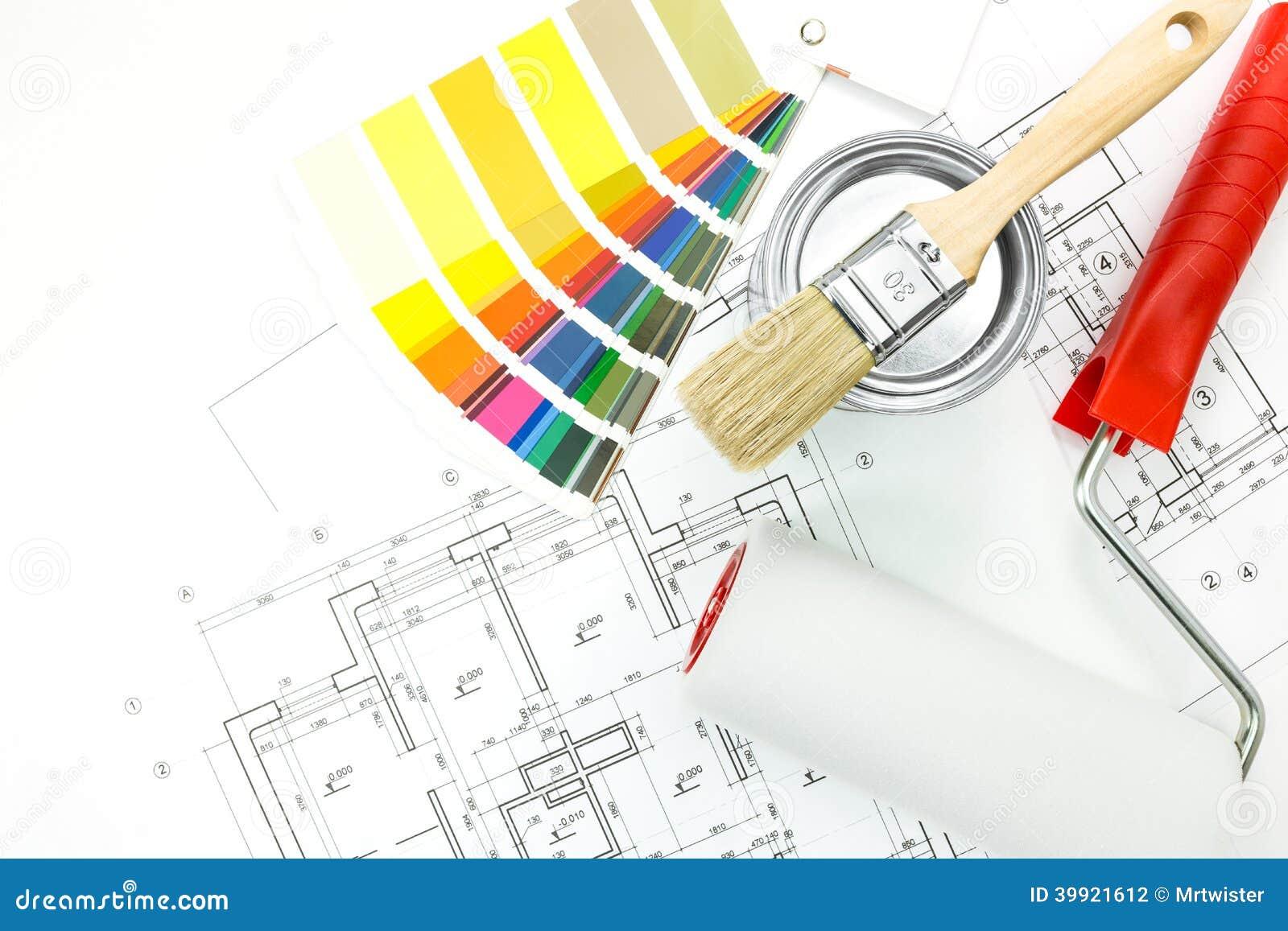 Chantillons de couleur brosse pot de peinture photo stock image 39921612 - Echantillon de couleurs de peinture ...