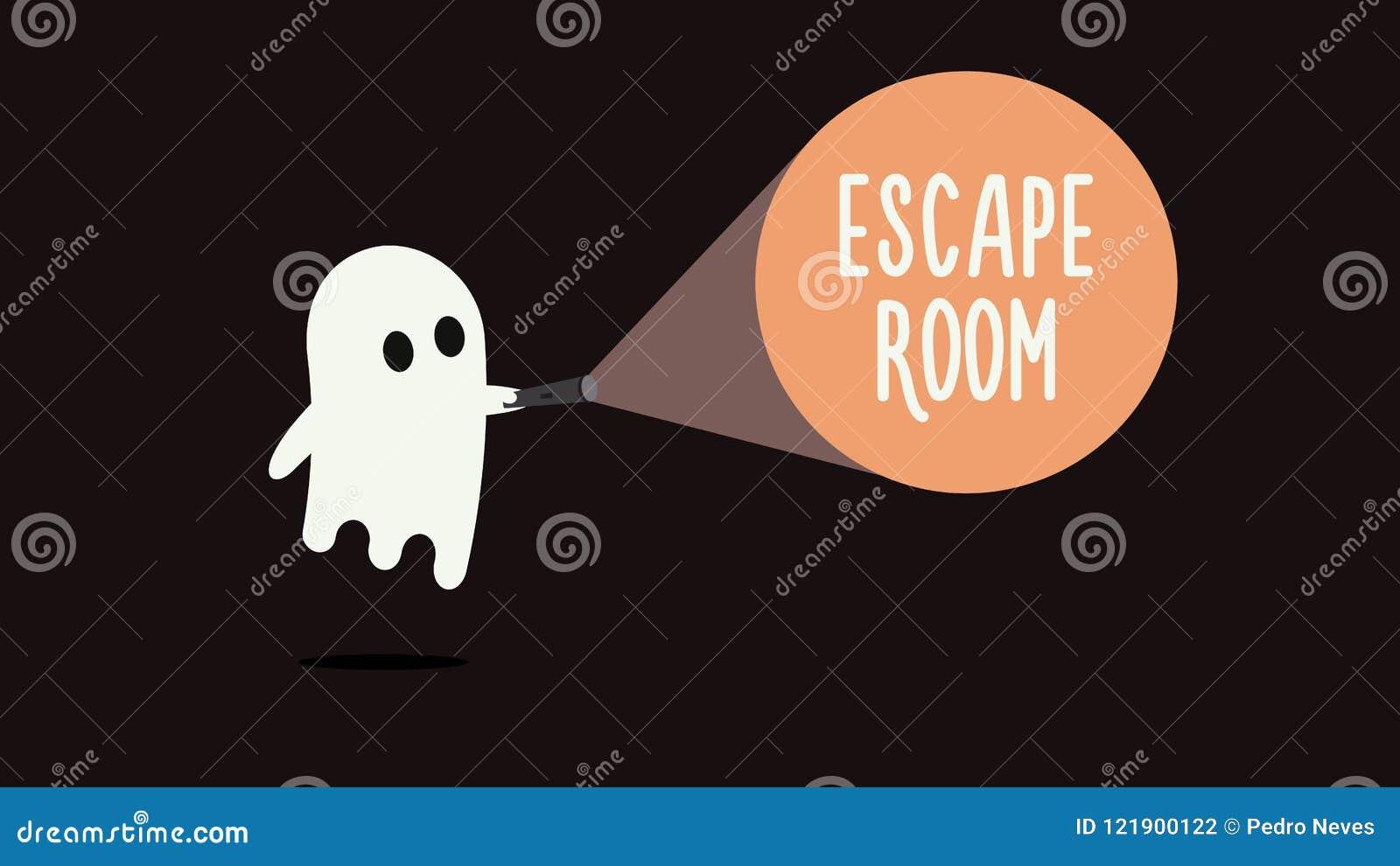 Échappez au concept de fond de jeux de pièce avec le fantôme et la lampe-torche Illustration de vecteur