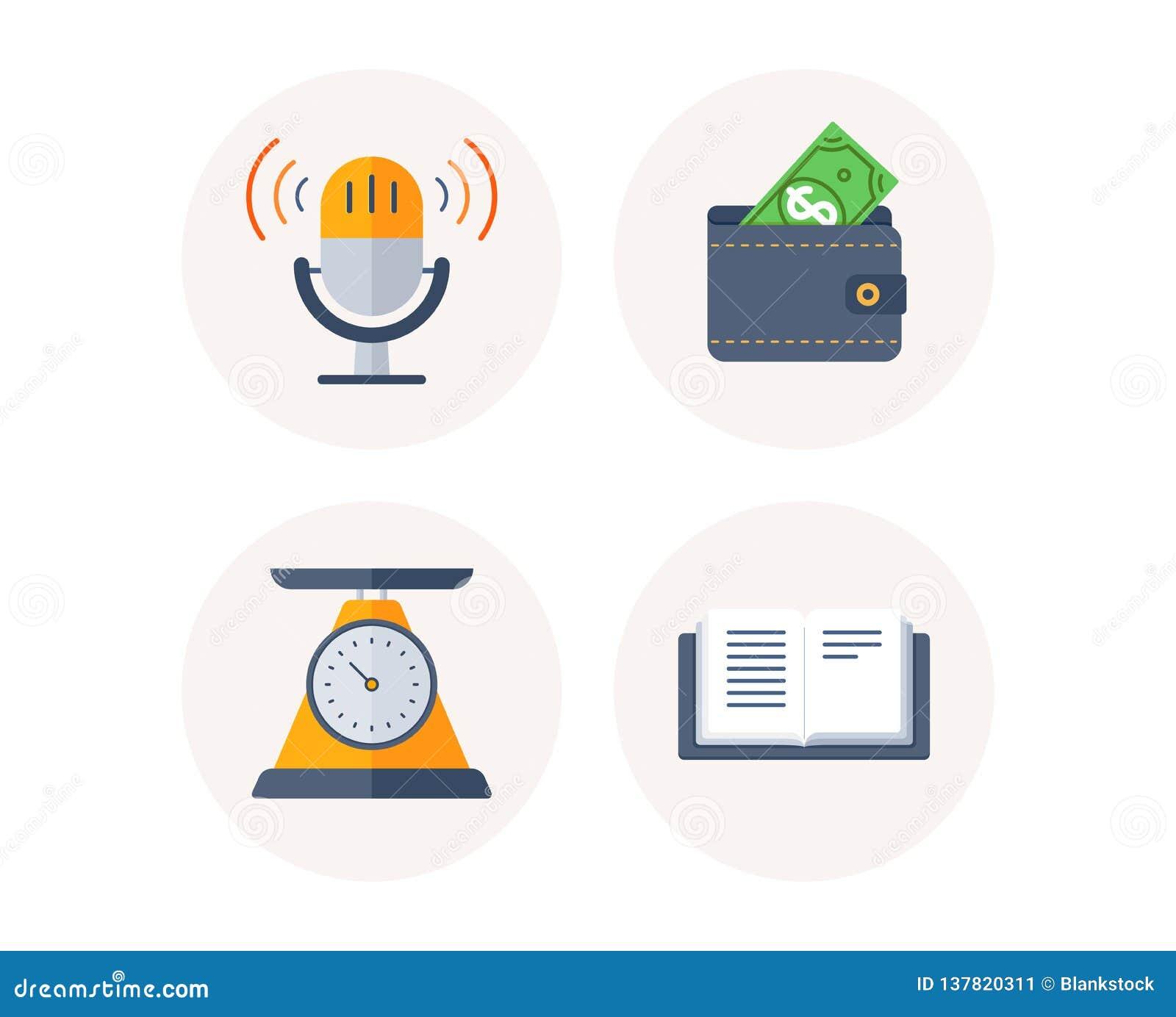 Échelle de poids, portefeuille et rétros icônes de microphone Ouvrez le signe de livre Régime de santé, argent du dollar, bruit p