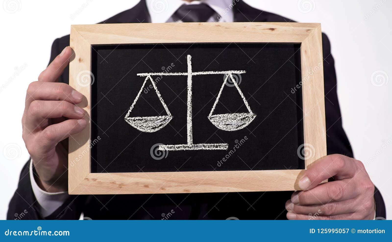 Échelles de justice dessinées sur le tableau noir dans des mains d avocat, le pour de décision - et - le contre