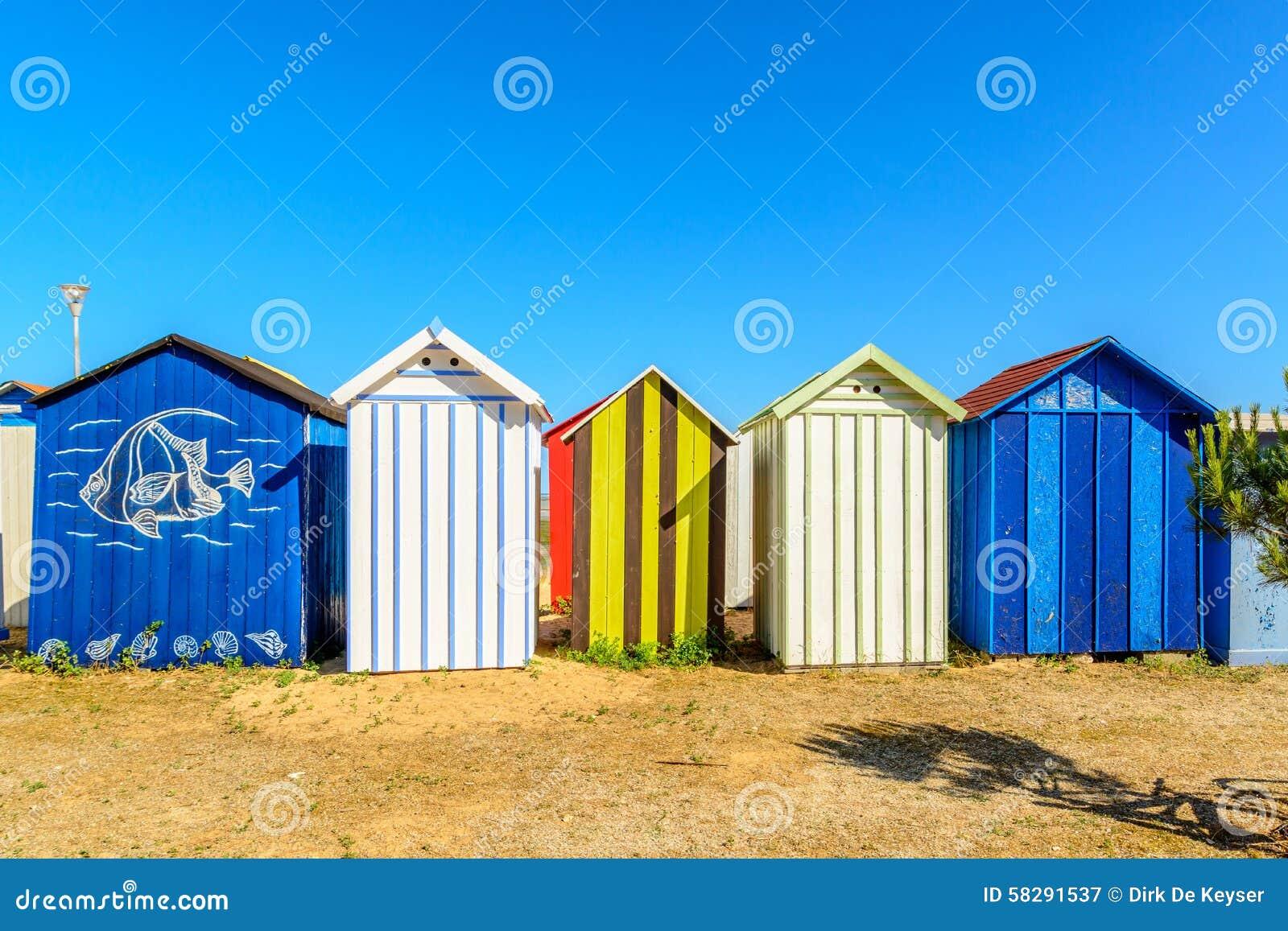 Échouez les cabines sur l oleron de l ile d, France