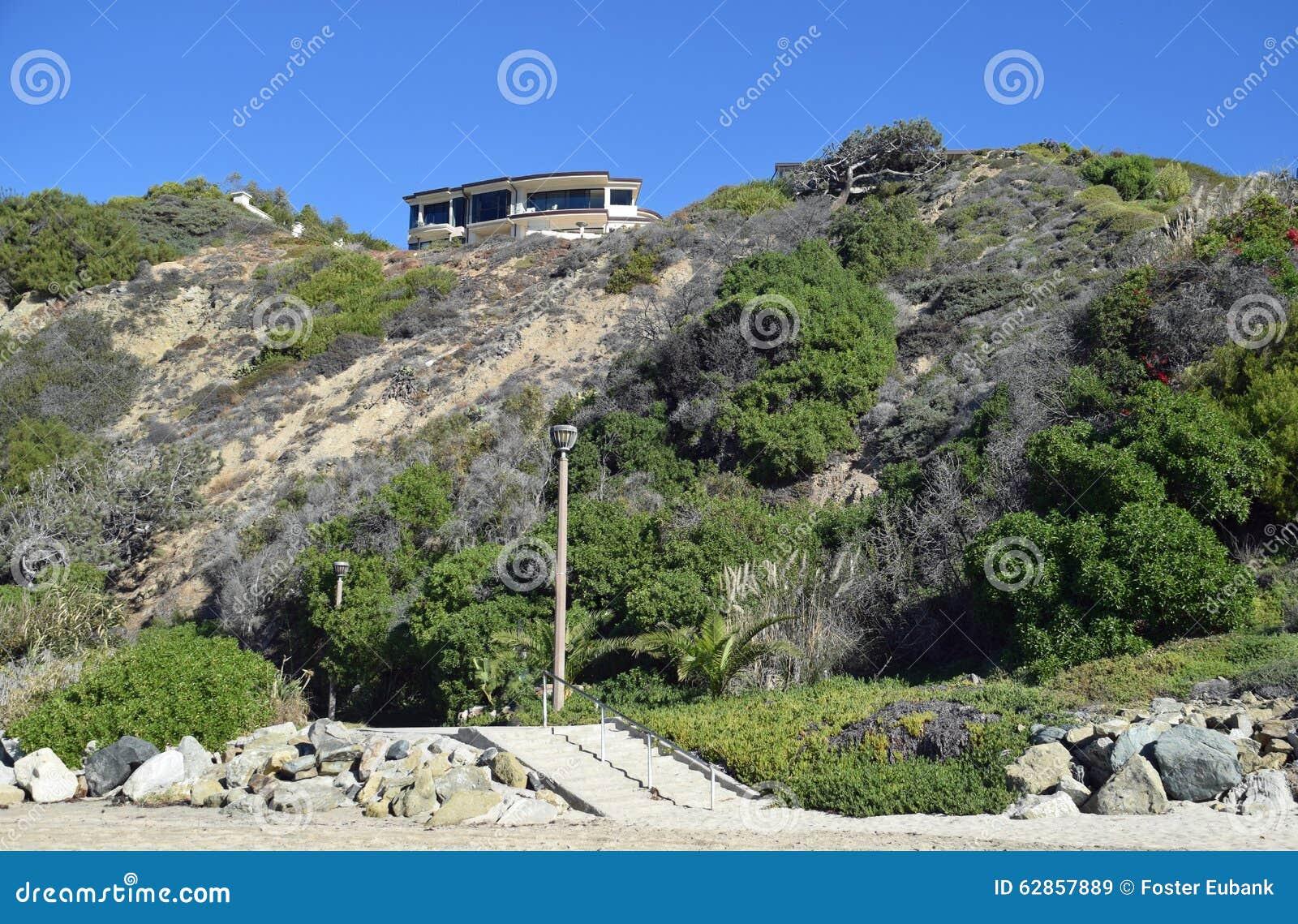 Échouez Les Maisons Latérales Sur Dana Strand Beach En Dana