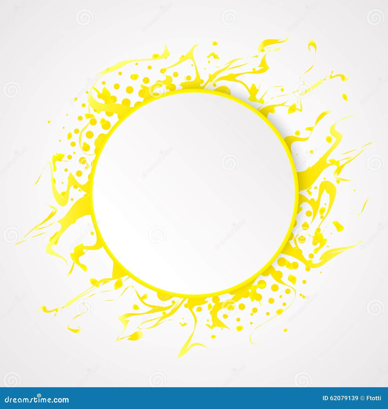 Éclaboussez l effet jaune de peinture et d image tramée sur le fond propre