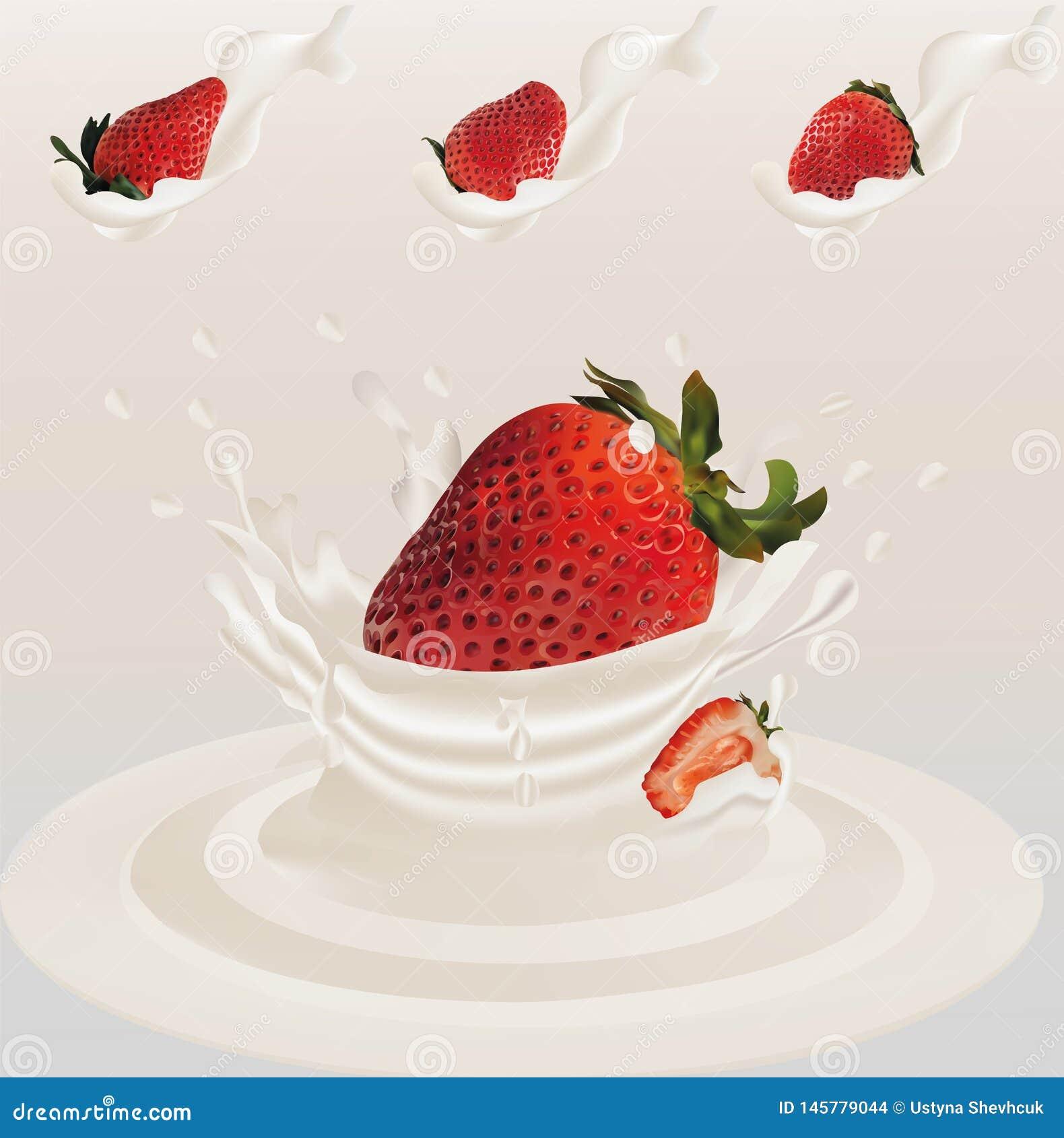 Éclaboussez la fraise dans le vecteur 3d réaliste de lait Fruit cru de fraise La fraise de totalité et de tranche avec éclabousse