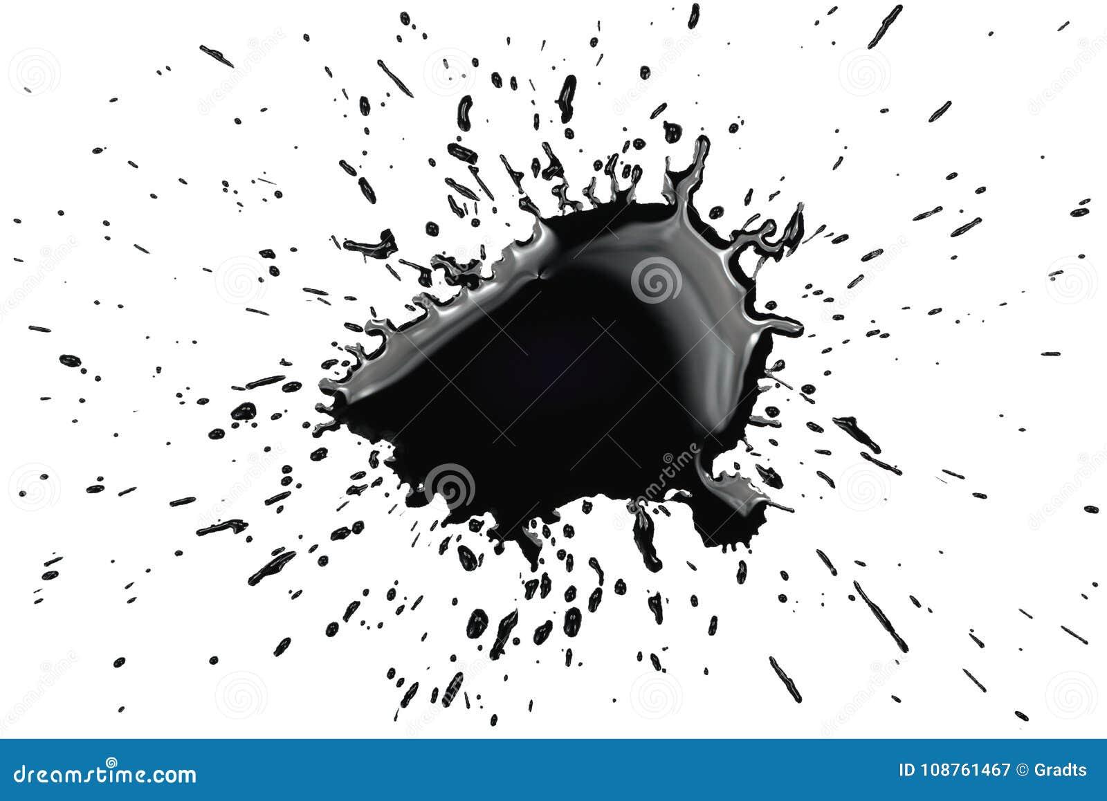 Éclaboussure à l encre noire d éclaboussure d éclaboussure de tache de tache