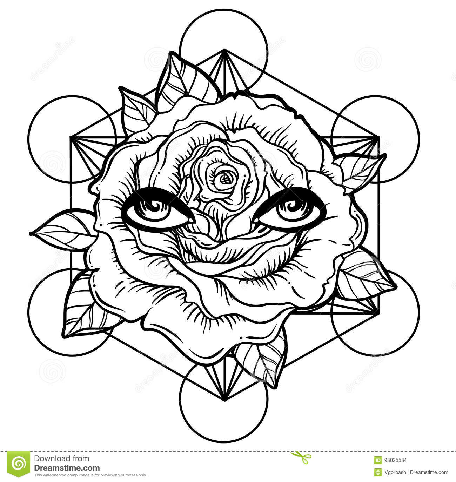 Eclair De Tatouage De Blackwork Fleur De Rose La Geometrie Sacree