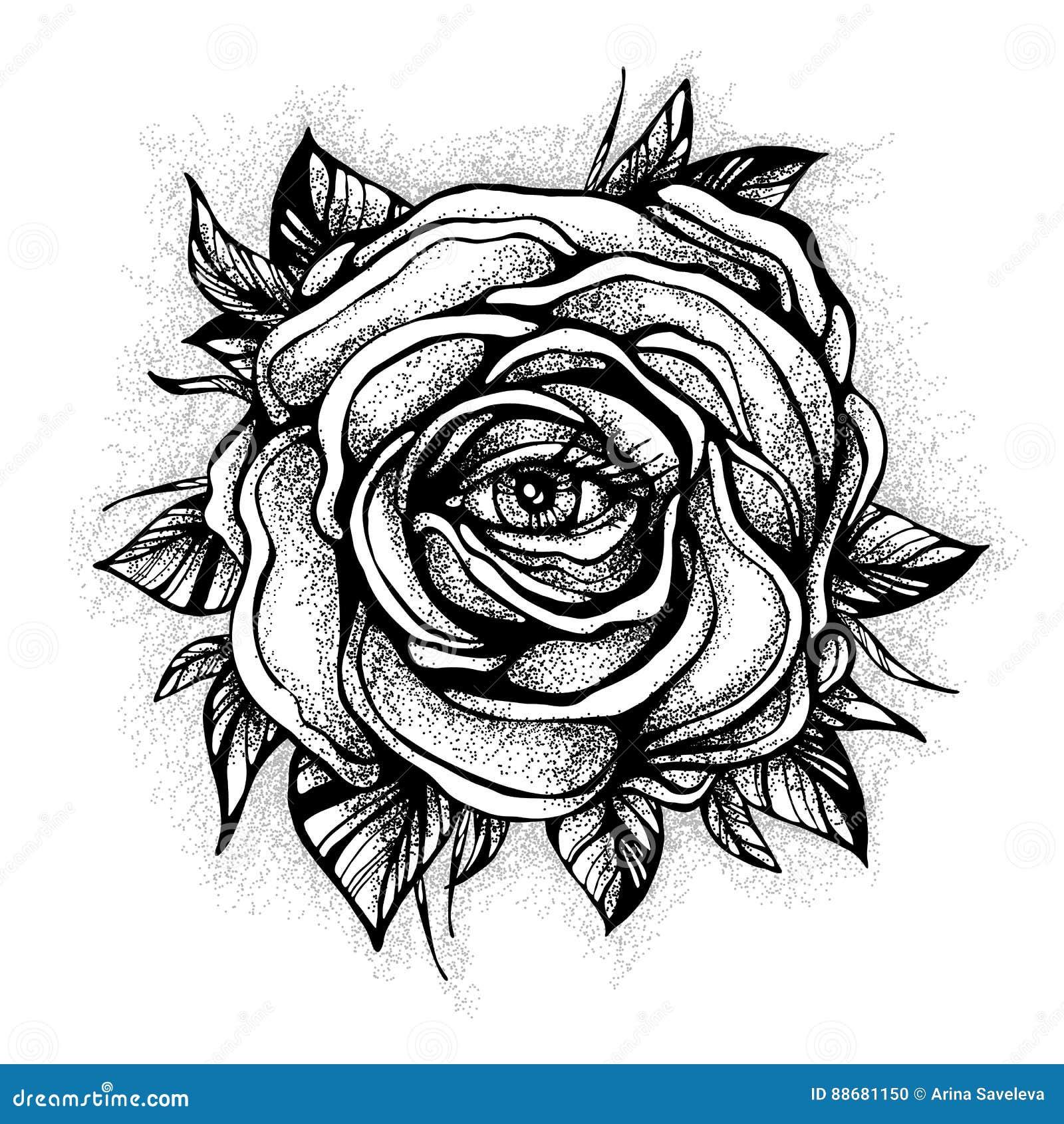 Dessin rose noir et blanc galerie tatouage - Tattoo rose noir ...