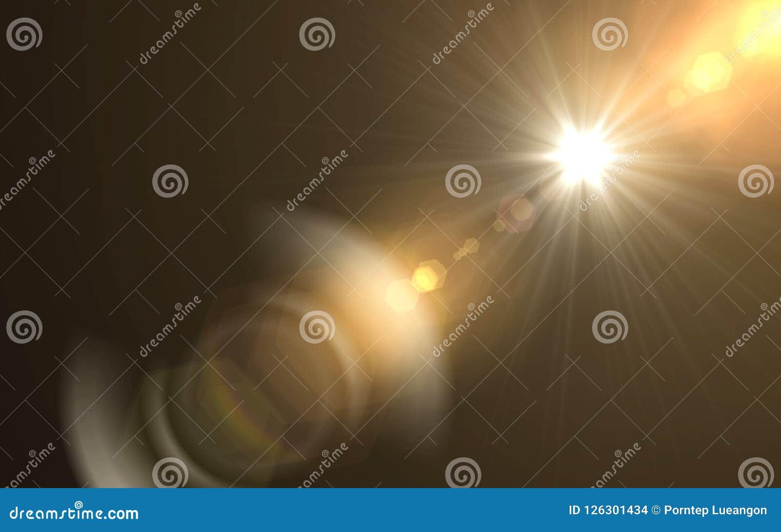 Éclat abstrait du soleil avec le fond numérique de fusée de lentille La lentille numérique abstraite évase des effets de la lumiè