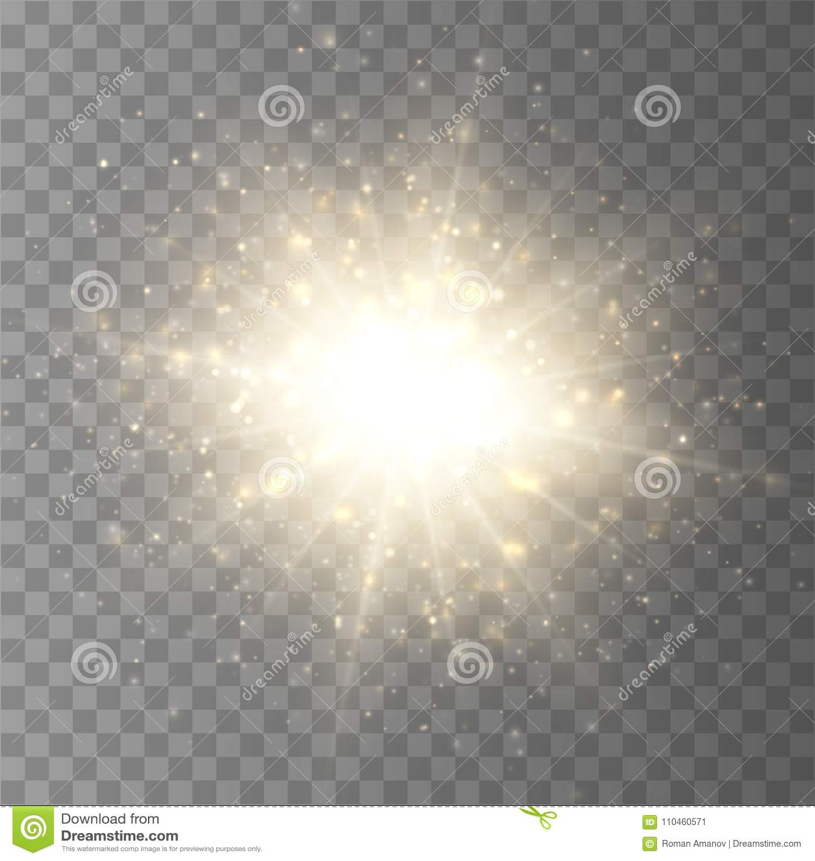 Éclat d étoile avec la poussière et l étincelle d isolement Effet de la lumière de lueur