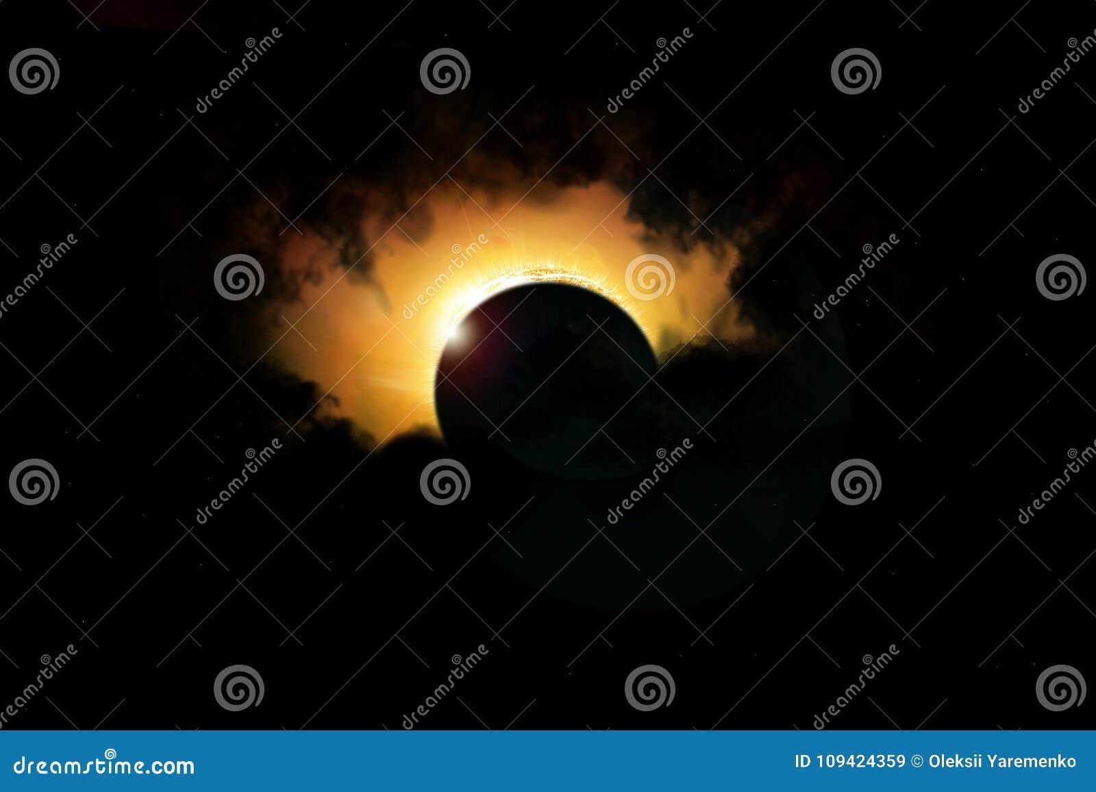 Éclipse solaire de l espace Système solaire, éruption chromosphérique, éclipse totale