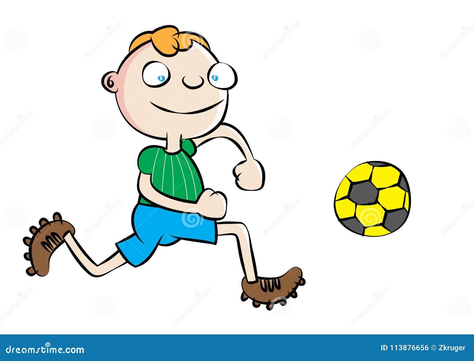 Ecolier Blanc Drole Jouant Le Football Illustration De Vecteur