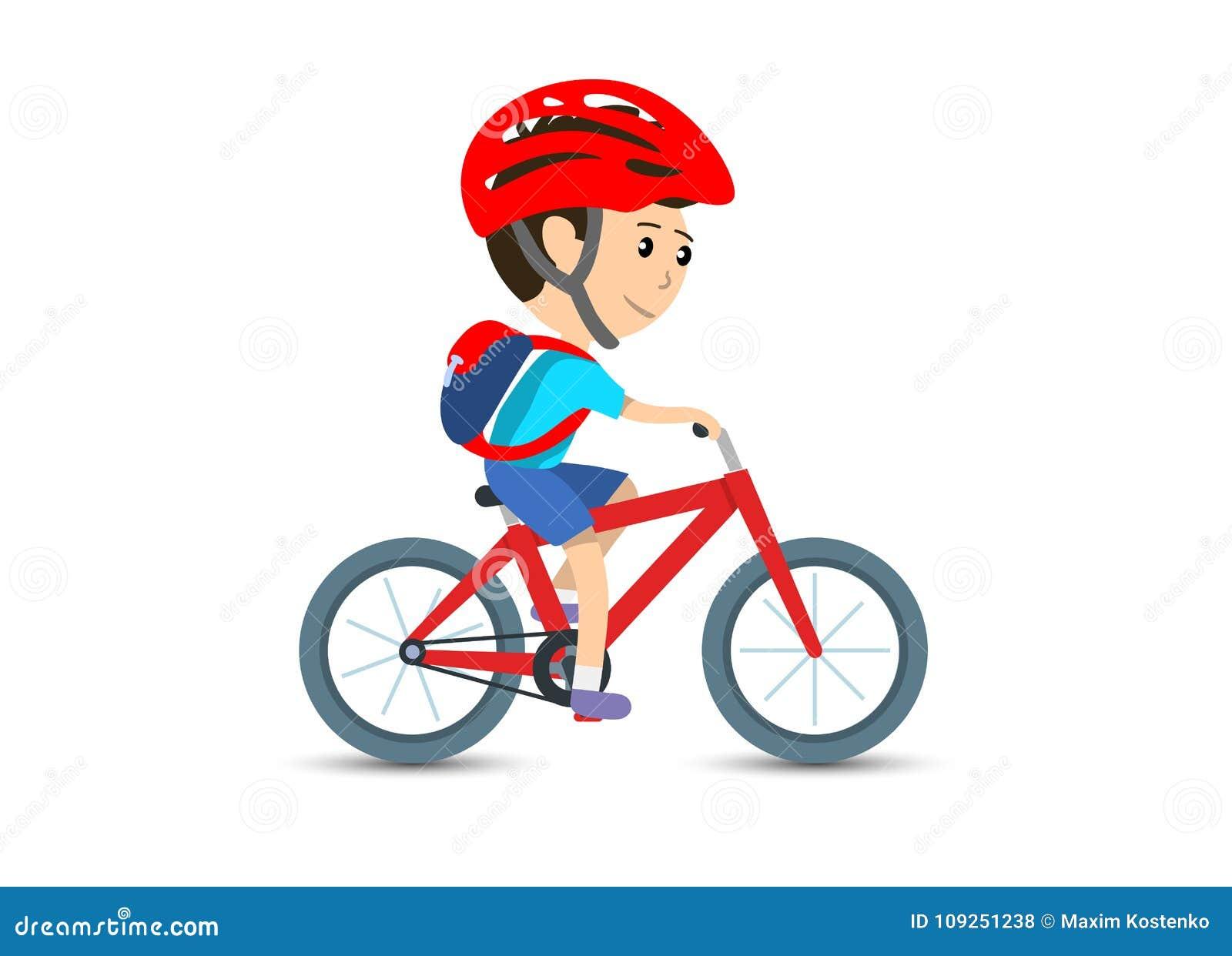 Écolier de l adolescence d enfant faisant un cycle sur le sac à dos de bicyclette et le casque de port, illustration de vecteur