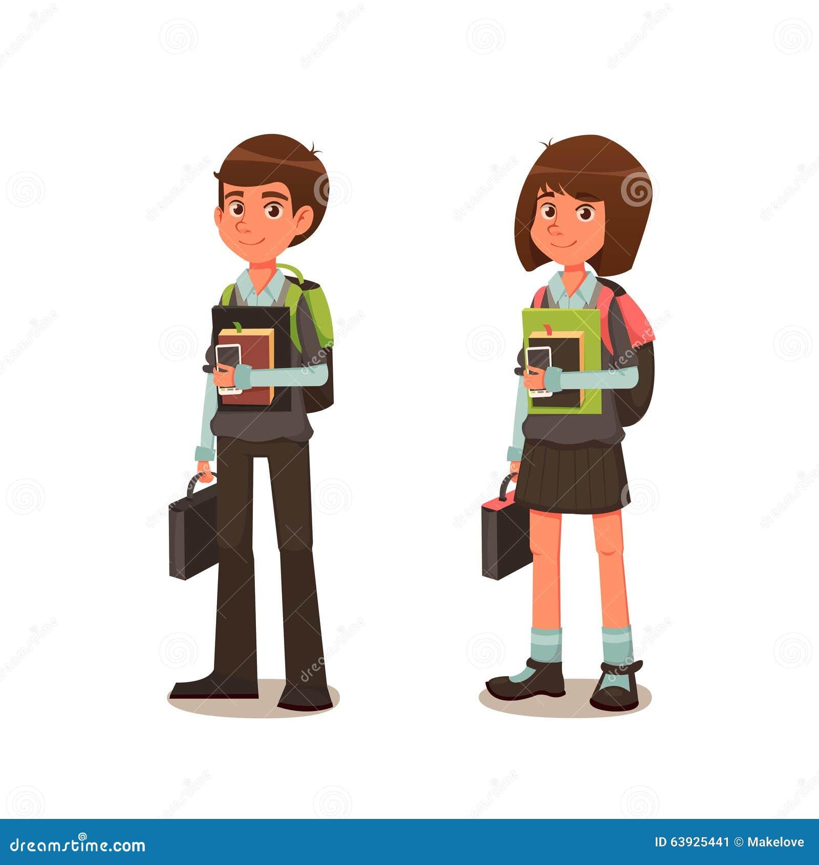 colier et coli re dans l 39 uniforme scolaire avec des livres illustration de vecteur. Black Bedroom Furniture Sets. Home Design Ideas