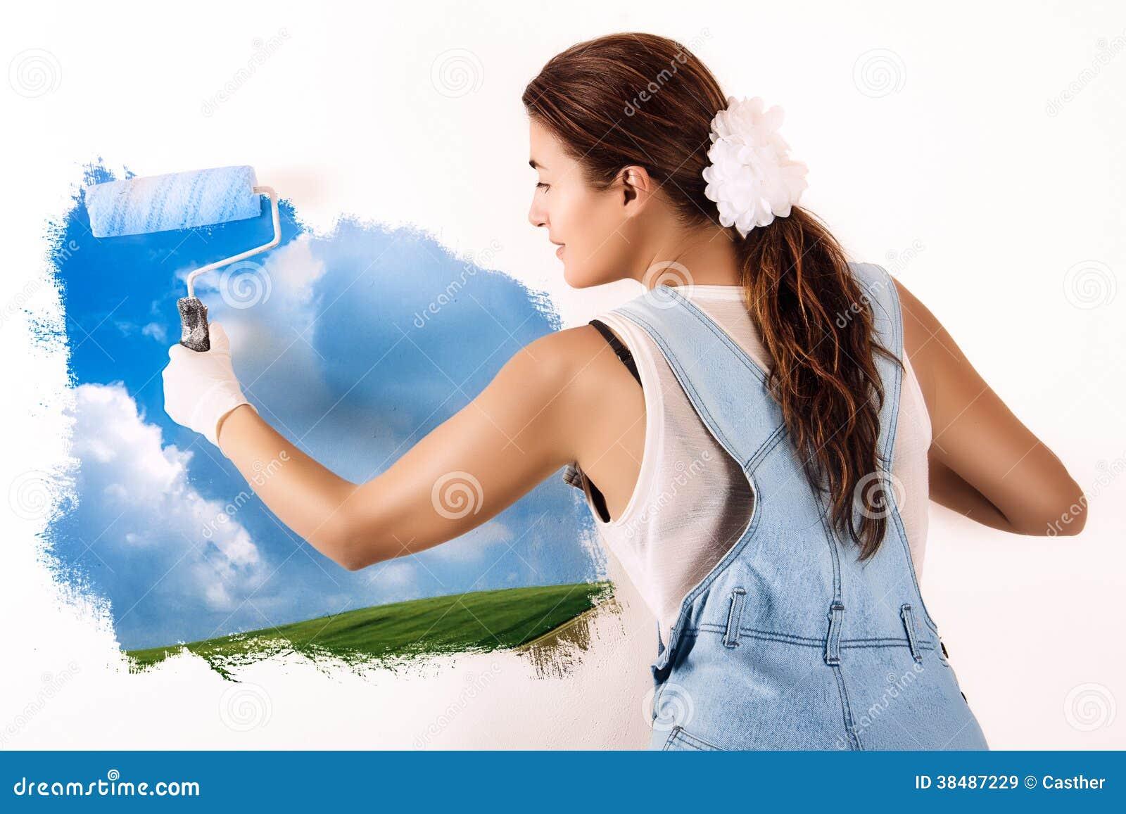 cologiste mural painting sur le mur d cor avec la. Black Bedroom Furniture Sets. Home Design Ideas