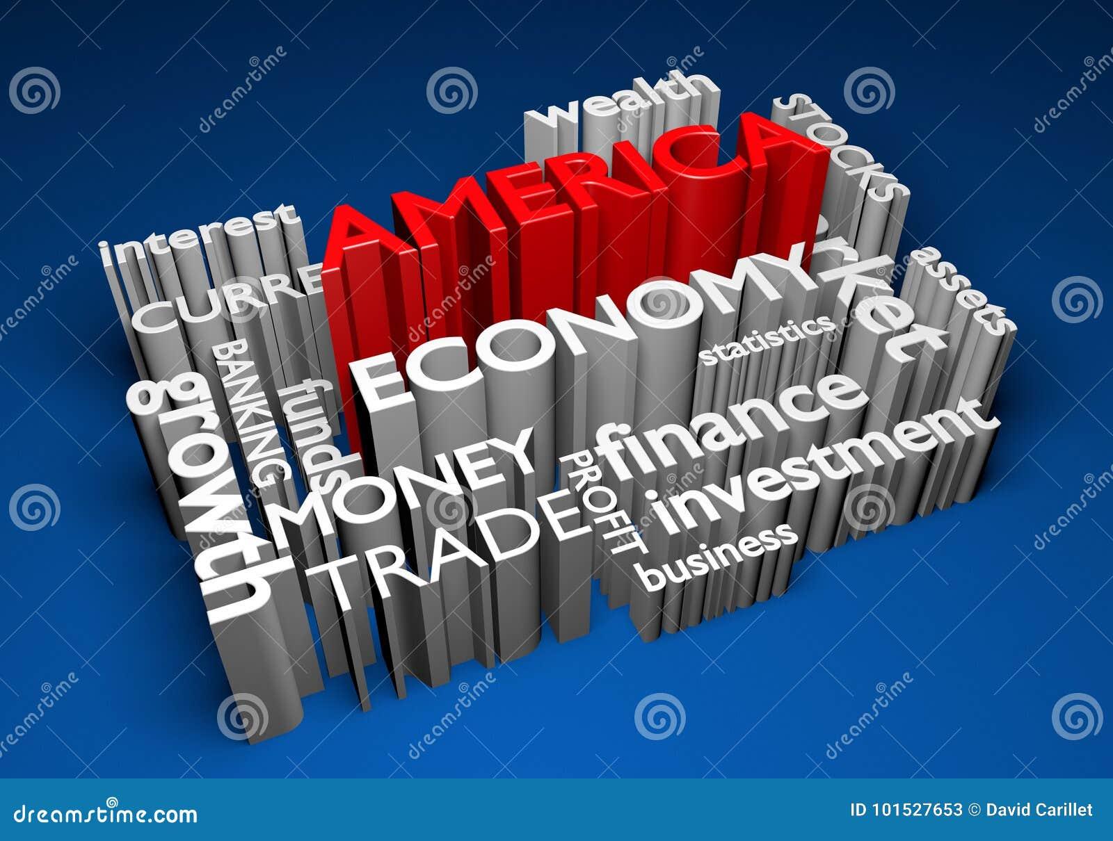 Économie de l Amérique et participations pour la croissance de PIB, rendu 3D