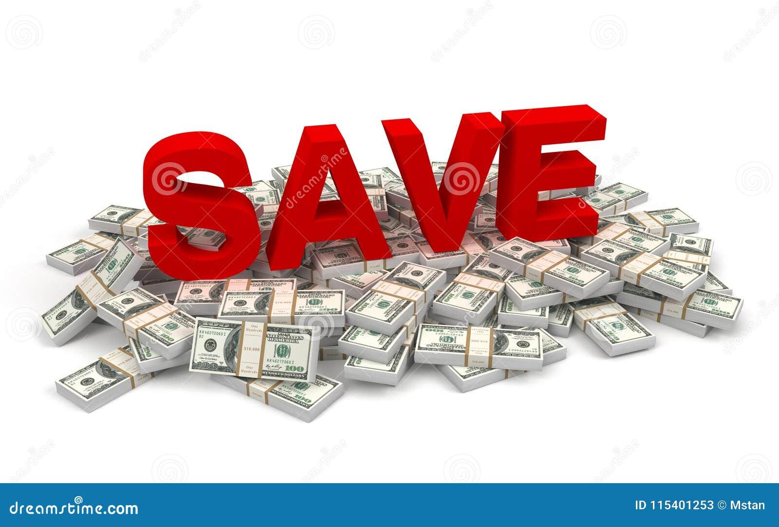 Économisez et illustration des factures d argent 3d
