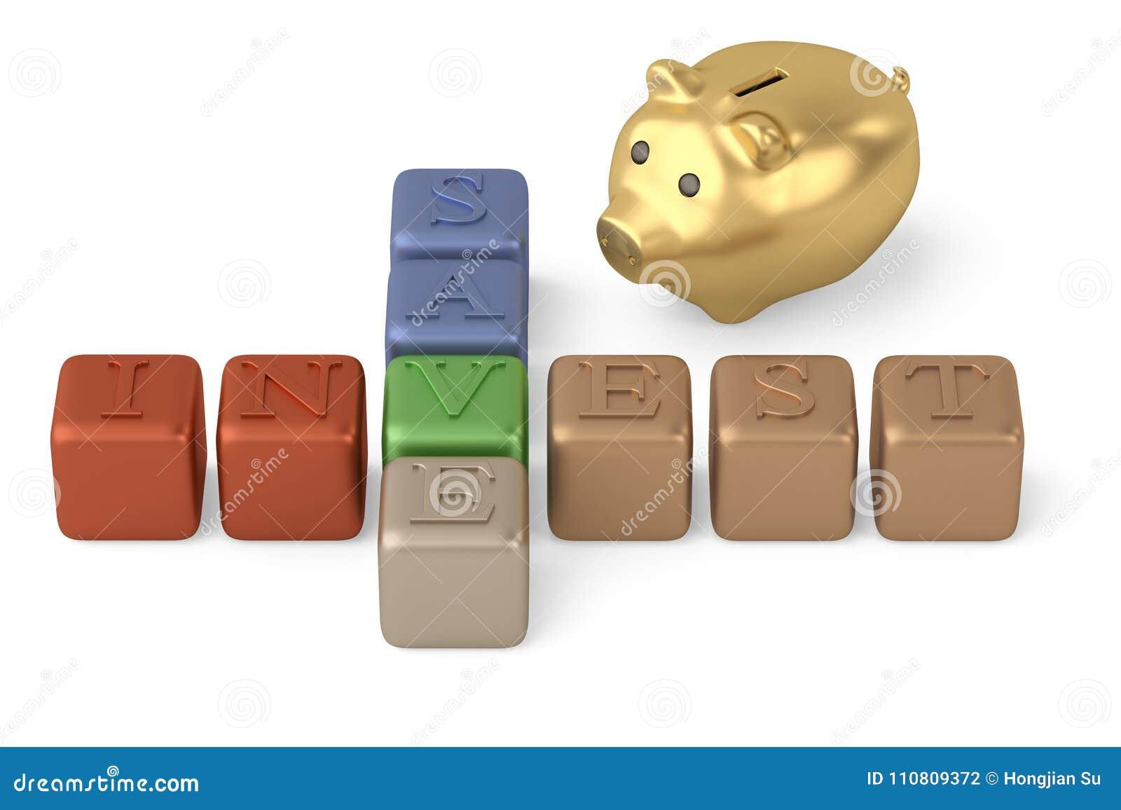 Économisez investissent la tirelire de mots croisé et d or sur le fond blanc 3