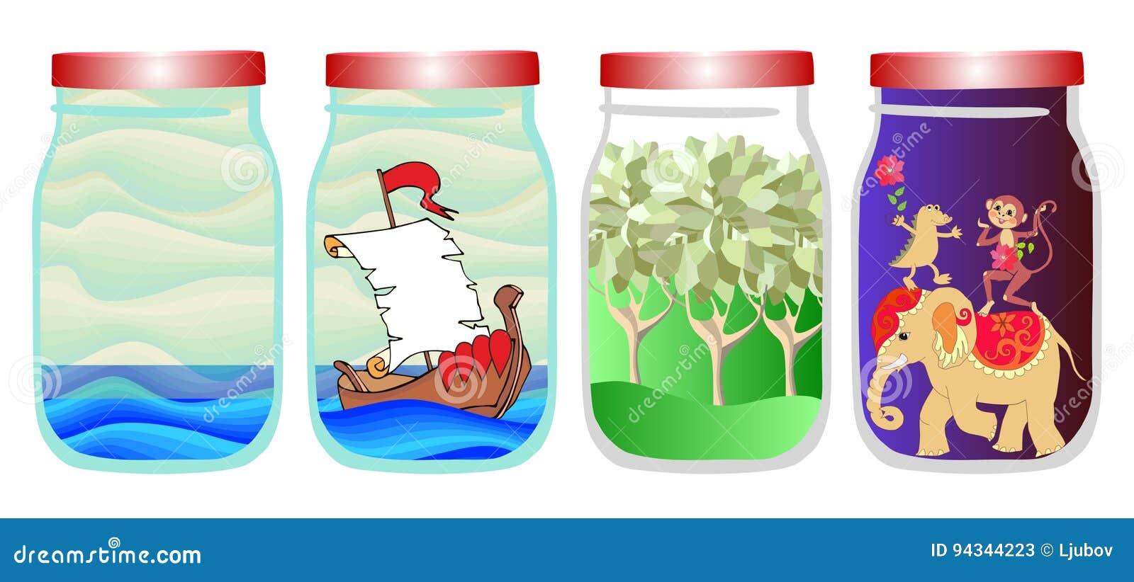 Économisez les souvenirs de l été Dirigez l illustration allégorique avec la mer, le bateau, la forêt et les animaux tropicaux da