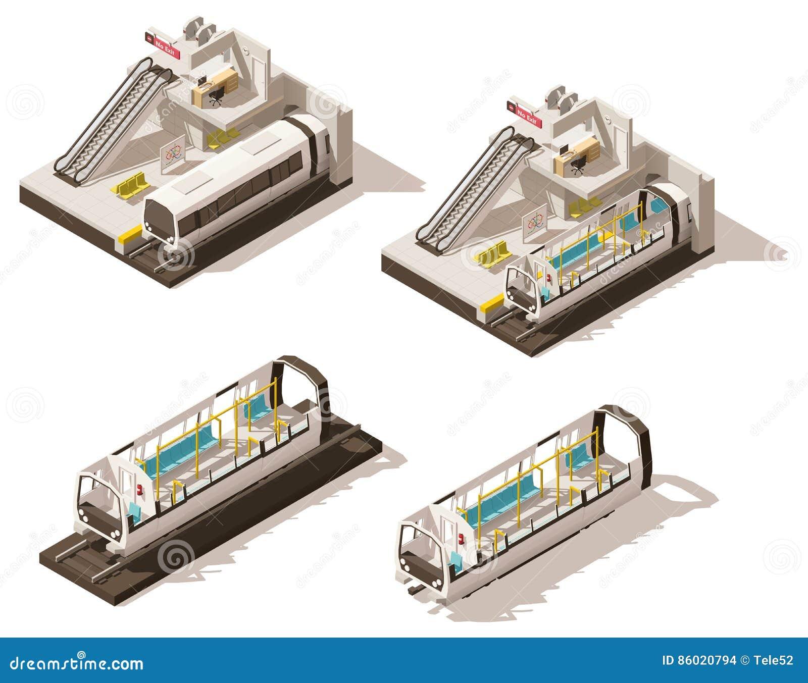 Écorché isométrique de station de métro de vecteur bas poly