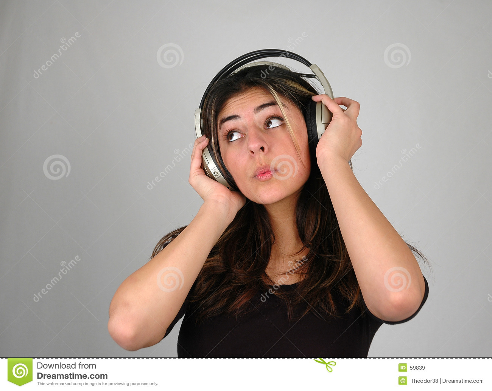 Download Écouter music-3 image stock. Image du fille, musique, écoute - 59839