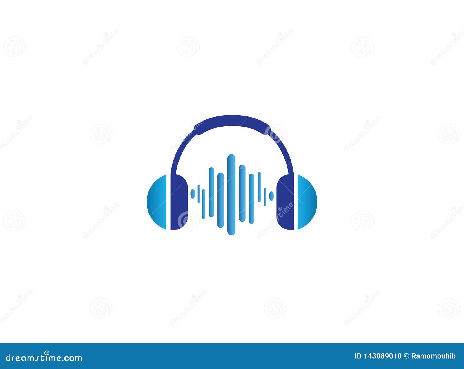 Écouteurs avec des battements de musique, conception de logo de casque
