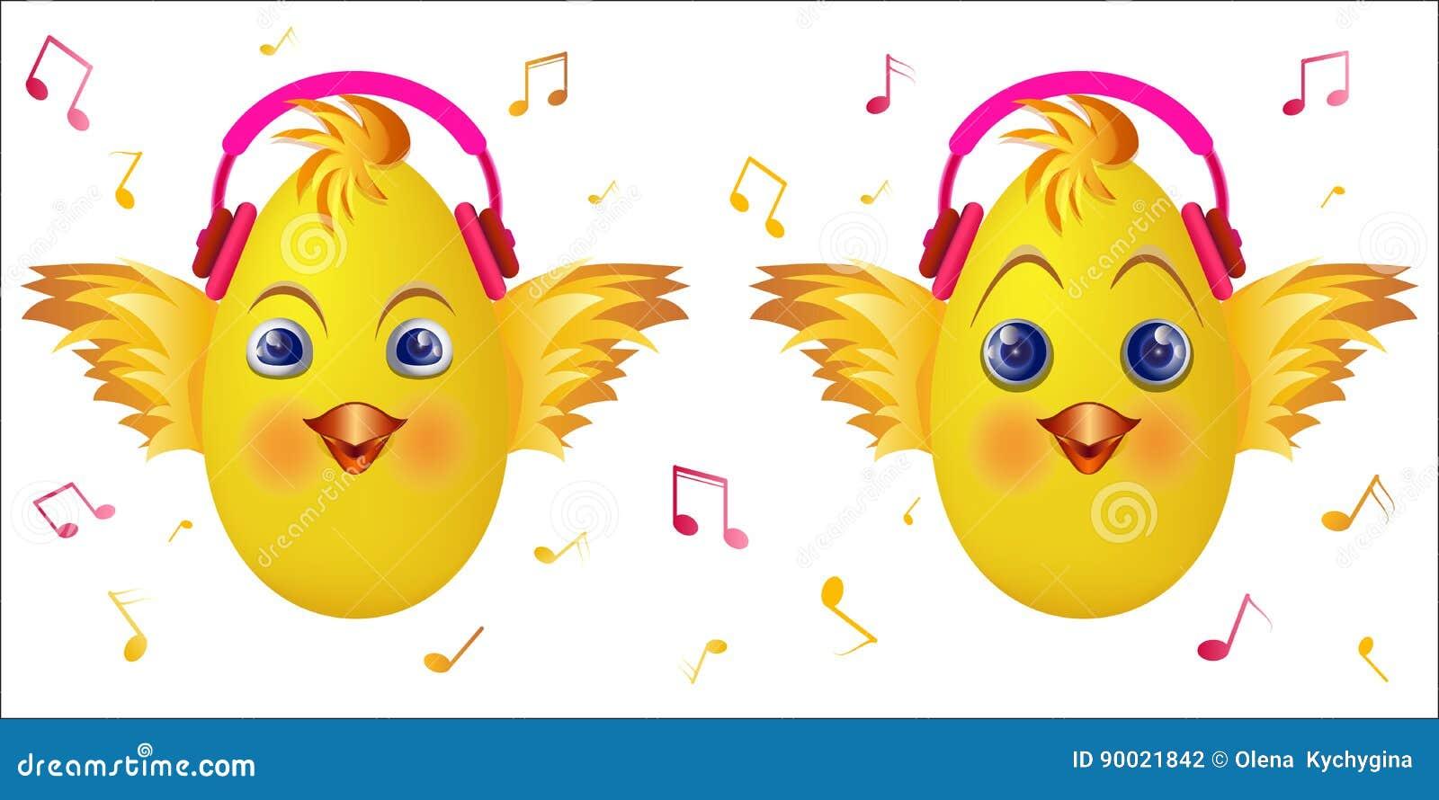 Ecouteurs De Musique De Rose De Poussin D Emoticone Illustration Stock Illustration Du Musique Poussin 90021842