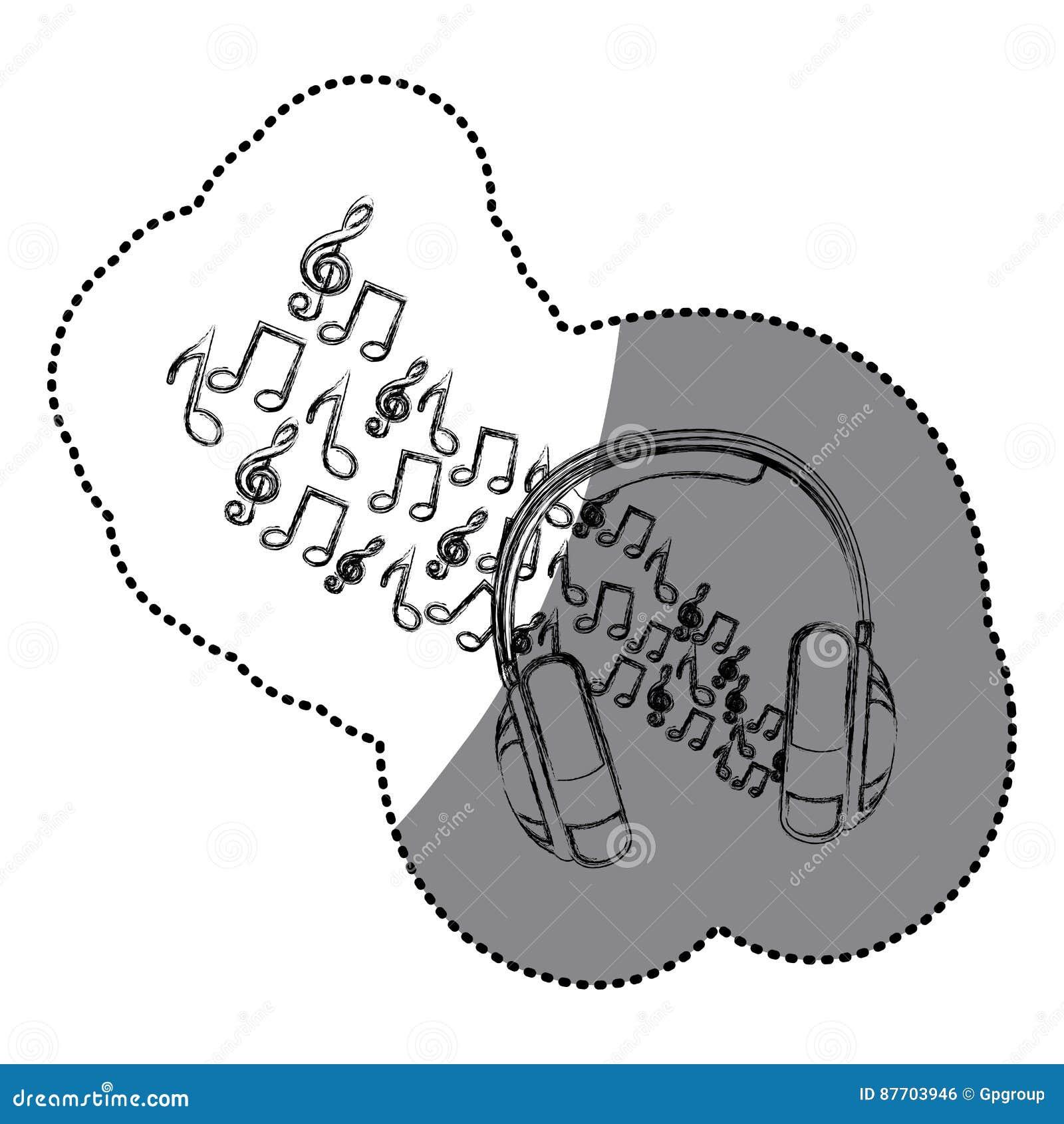 écouteurs de silhouette d autocollant avec les notes musicales