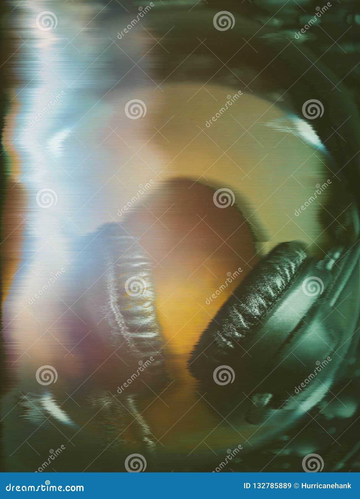 Écouteurs du DJ sur le lecteur de musique CD