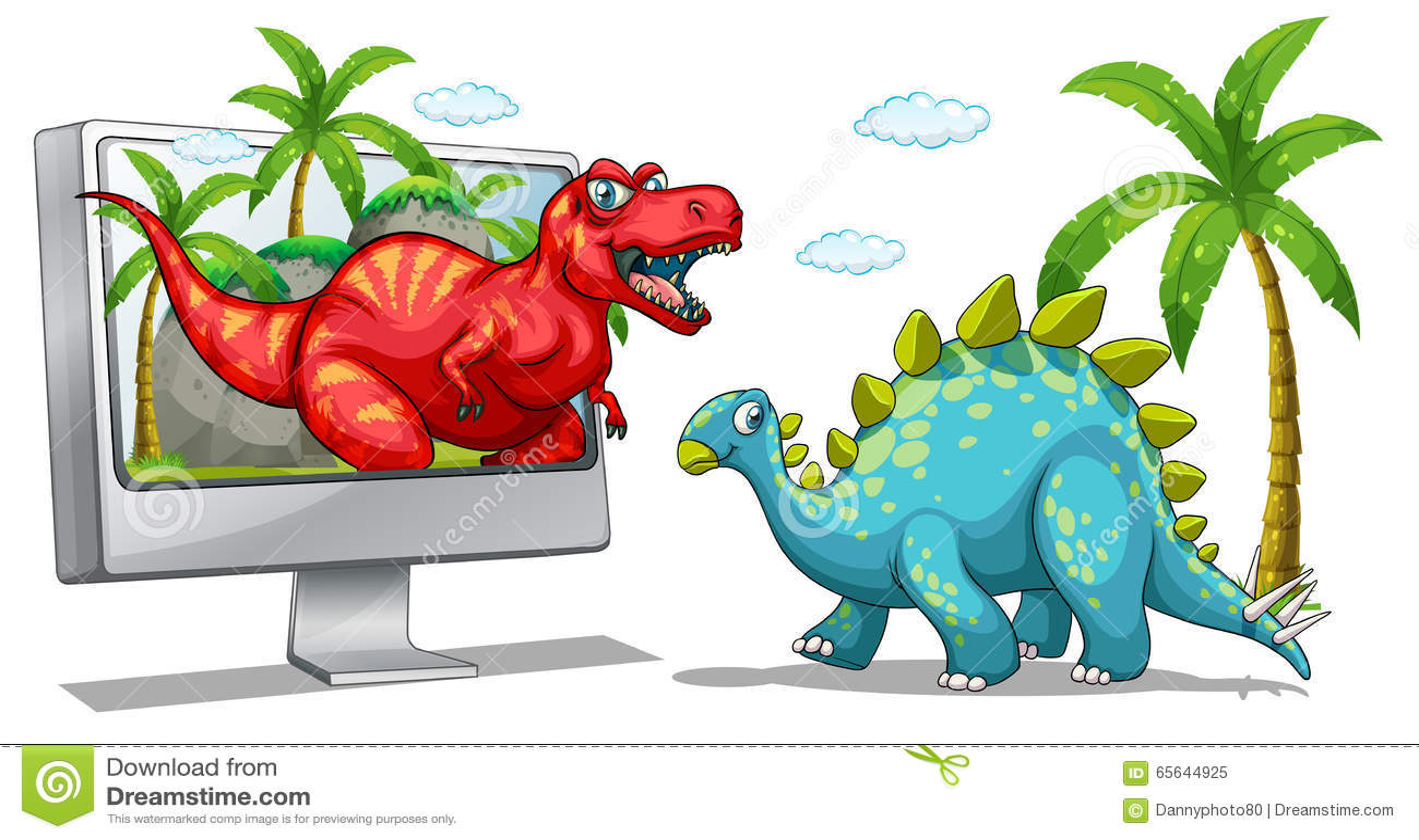 Écran d ordinateur avec deux dinosaures