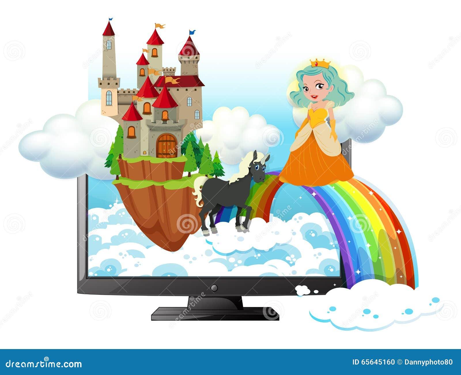 Écran d ordinateur avec la princesse et le château