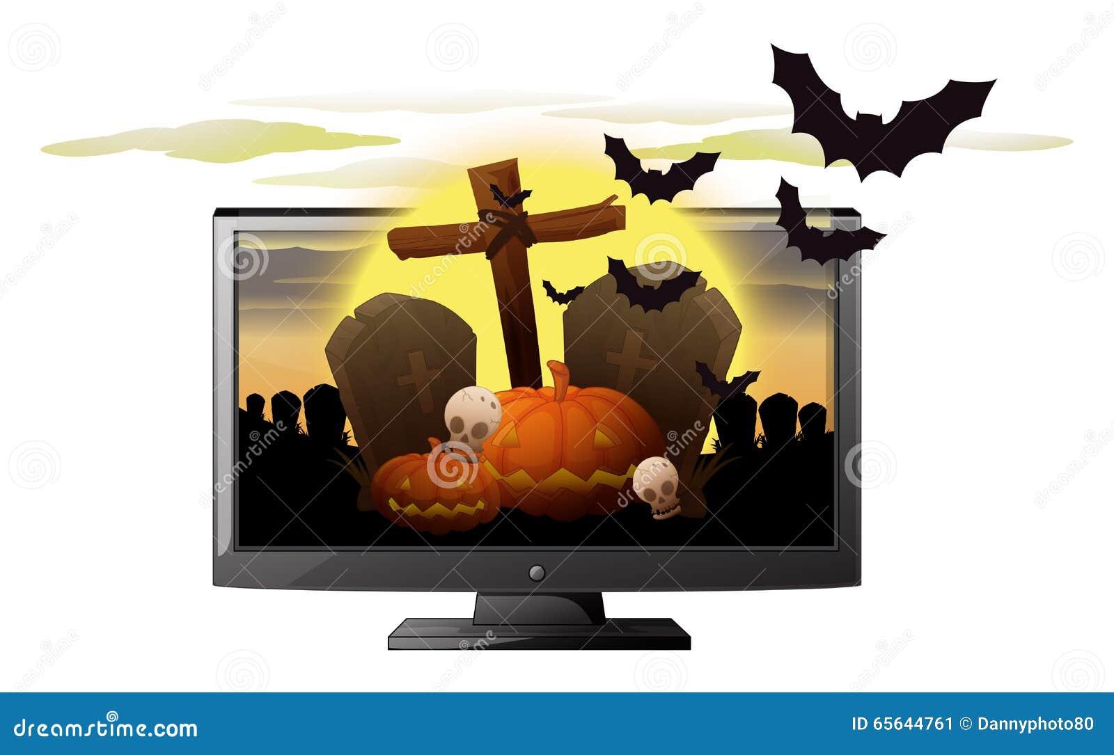 Écran d ordinateur avec le thème de Halloween