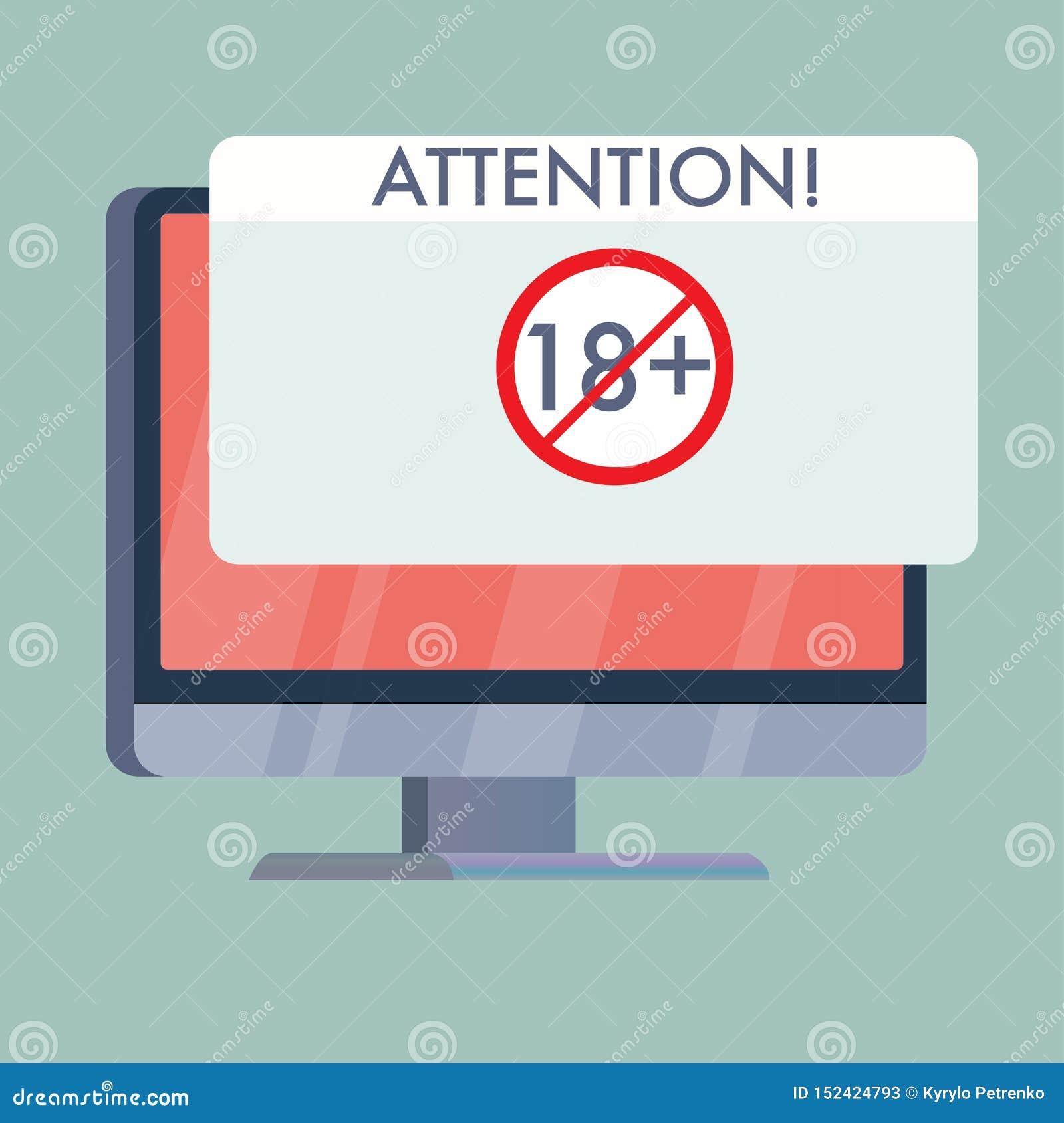 écran d ordinateur avec signe d adultes d attention le seul