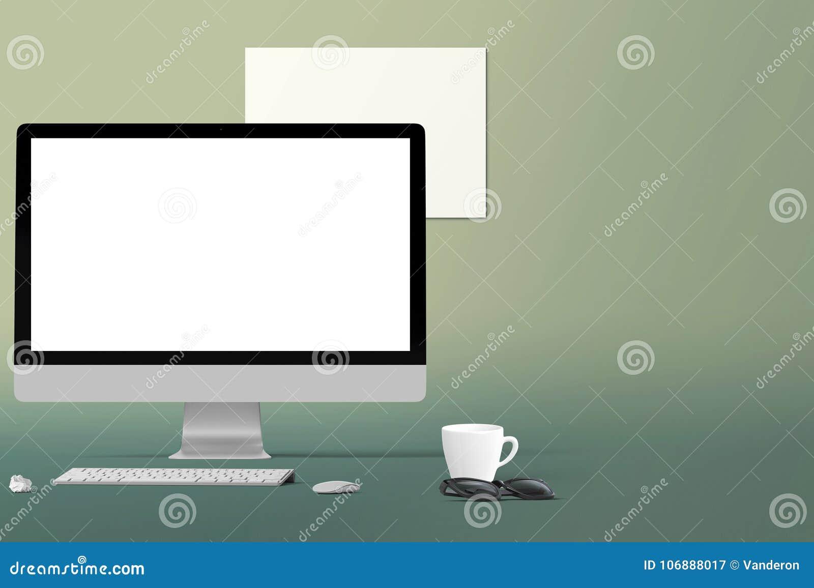 Écran d ordinateur de bureau d isolement fond créatif moderne d