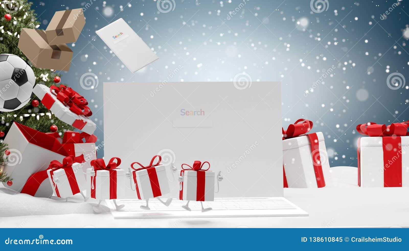 Ecran D Ordinateur De Cadeaux De Noel Au Paysage De Neige