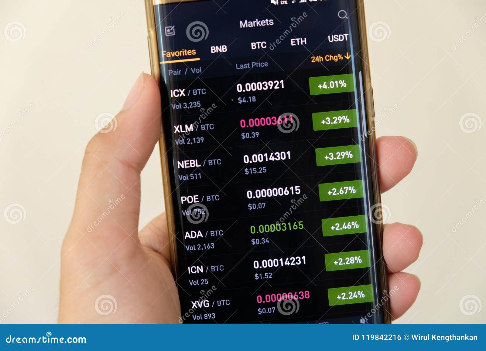 Écran de graphique du marché de Cryptocurrency sur l achat de smartphone et le bouton et la main de vente avec le fond de tache f