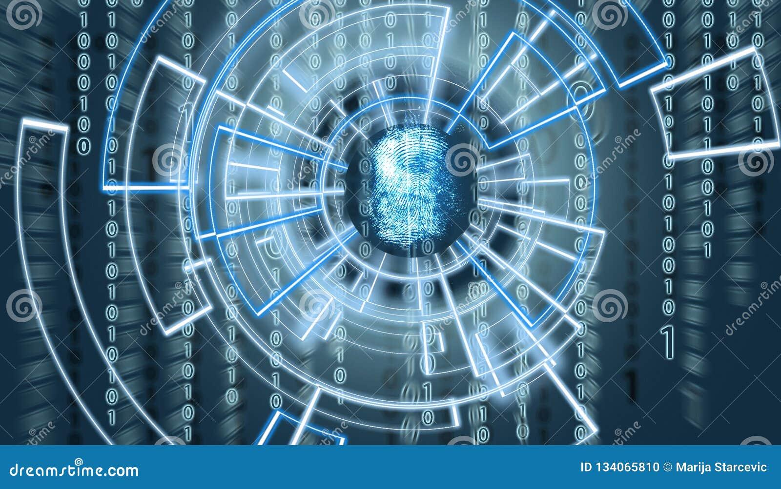 Écran de l OM d empreinte digitale abstraite avec le code de matrice à l arrière-plan et patern virtuels l entourant